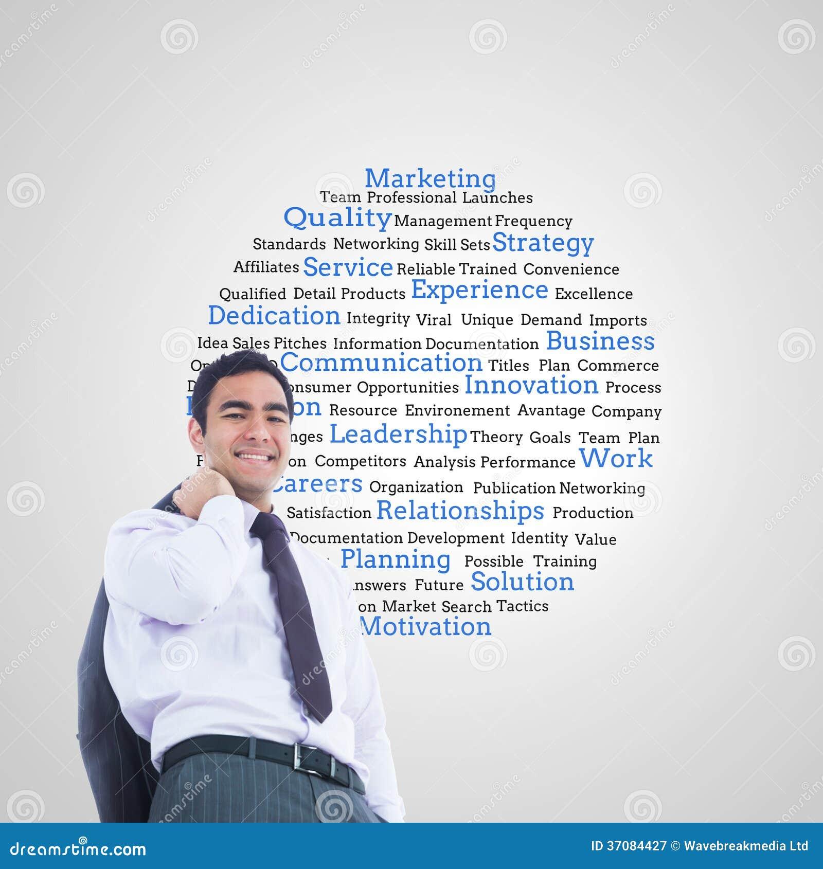 Download Uśmiechnięta Biznesmen Pozycja Obraz Stock - Obraz złożonej z mężczyzna, drużyna: 37084427