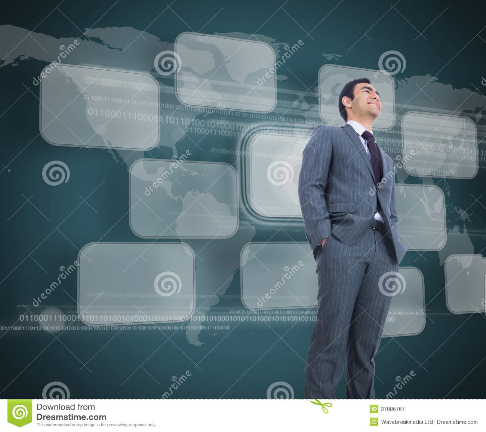Download Uśmiechnięta Biznesmen Pozycja Obraz Stock - Obraz złożonej z korporacyjny, planeta: 37086767