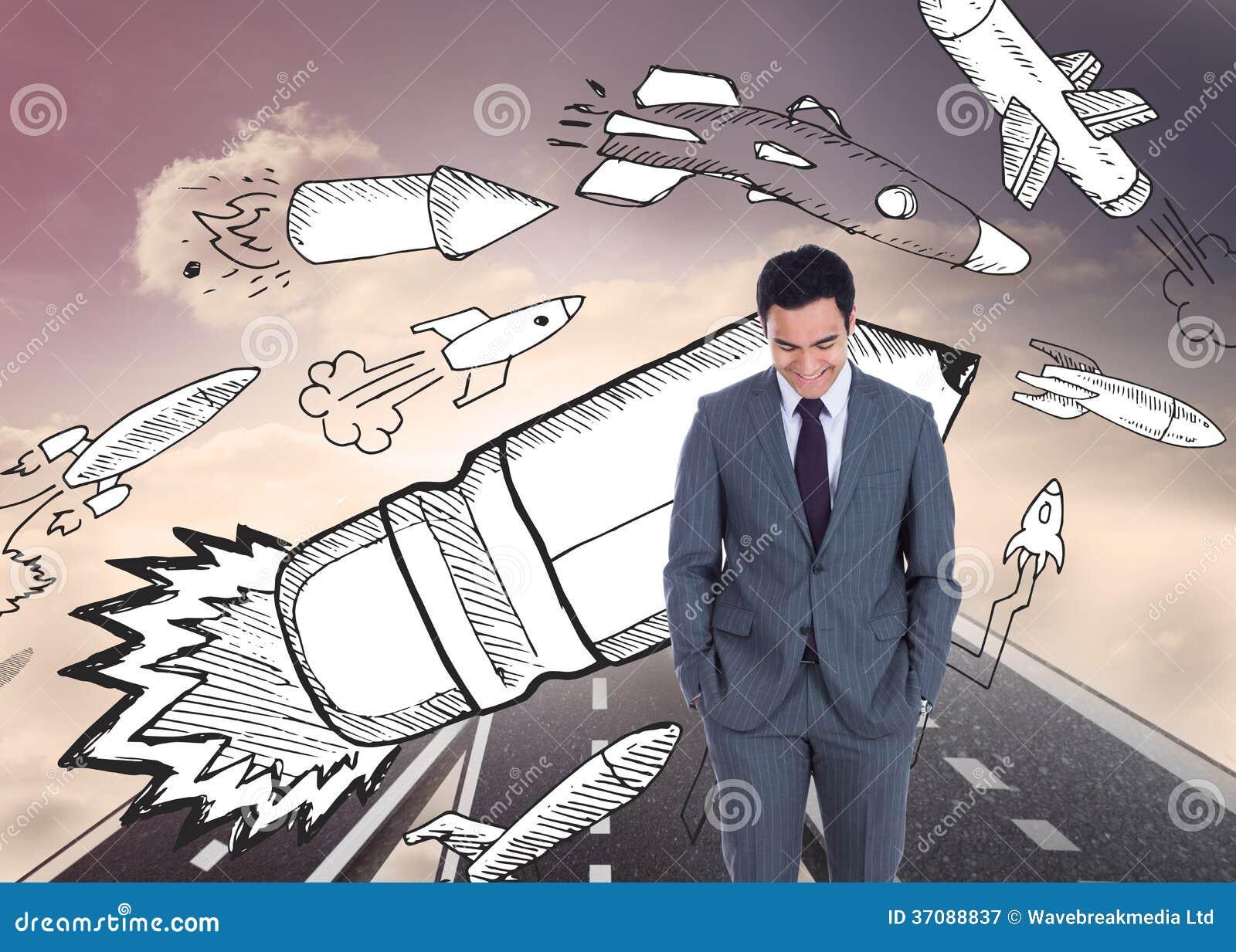 Download Uśmiechnięta Biznesmen Pozycja Obraz Stock - Obraz złożonej z światło, sunshine: 37088837