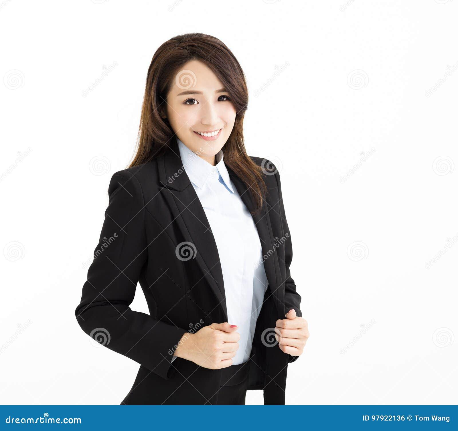 Uśmiechnięta i Ufna młoda biznesowa kobieta