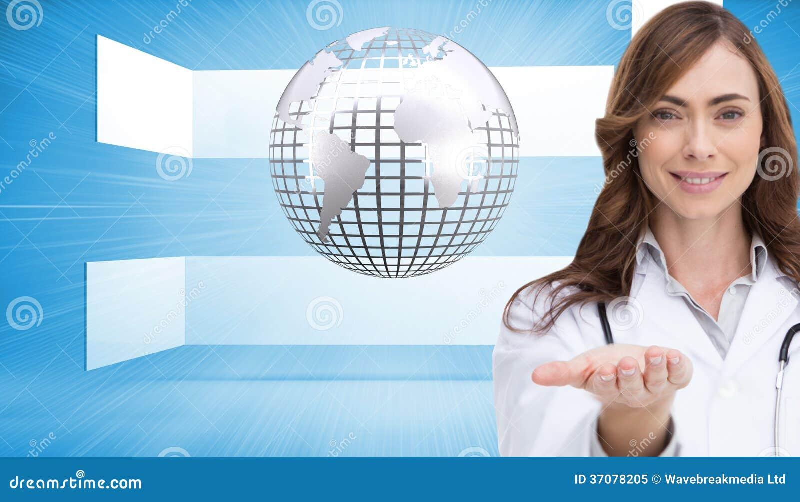 Download Uśmiechnięta Lekarka Przedstawia Jej Rękę Ilustracji - Ilustracja złożonej z foremność, globalny: 37078205