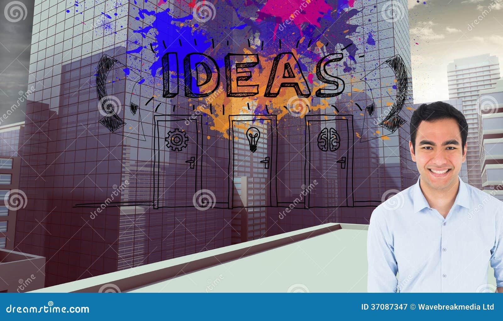 Download Uśmiechnięta Przypadkowa Mężczyzna Pozycja Obraz Stock - Obraz złożonej z komputer, pomarańcze: 37087347