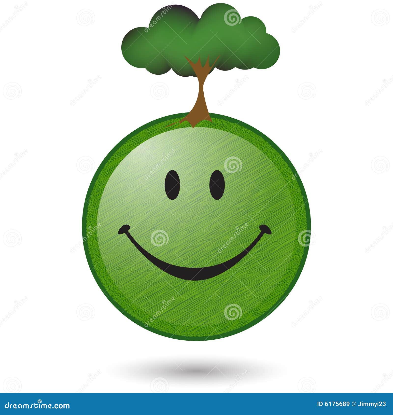 Uśmiechnięta twarz zielony szczęśliwy drzewo