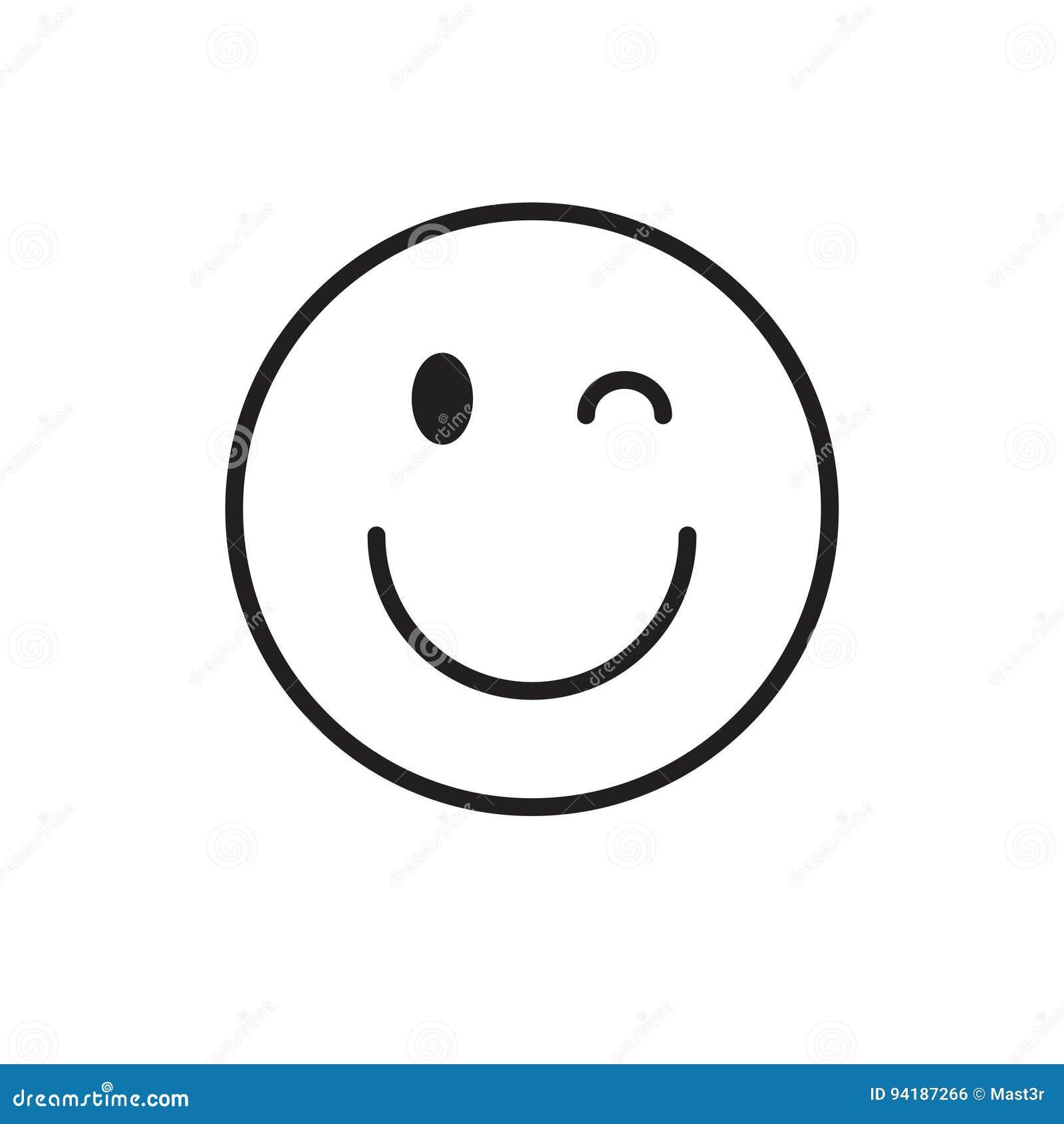 Uśmiechniętego kreskówki twarzy mrugnięcia emoci ikony Pozytywni ludzie