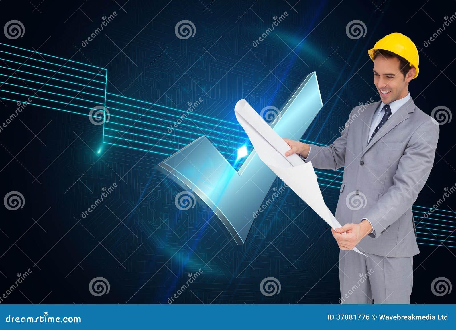 Download Uśmiechnięty Architekt Patrzeje Plany Z Ciężkim Kapeluszem Ilustracji - Ilustracja złożonej z shiners, osoba: 37081776
