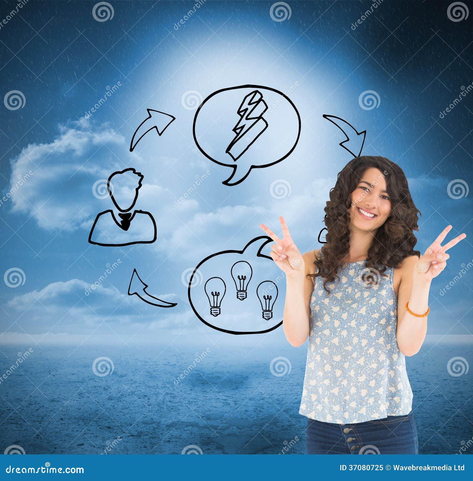 Download Uśmiechnięty Atrakcyjny Brunetki Pozować Ilustracji - Ilustracja złożonej z chmurny, komputer: 37080725