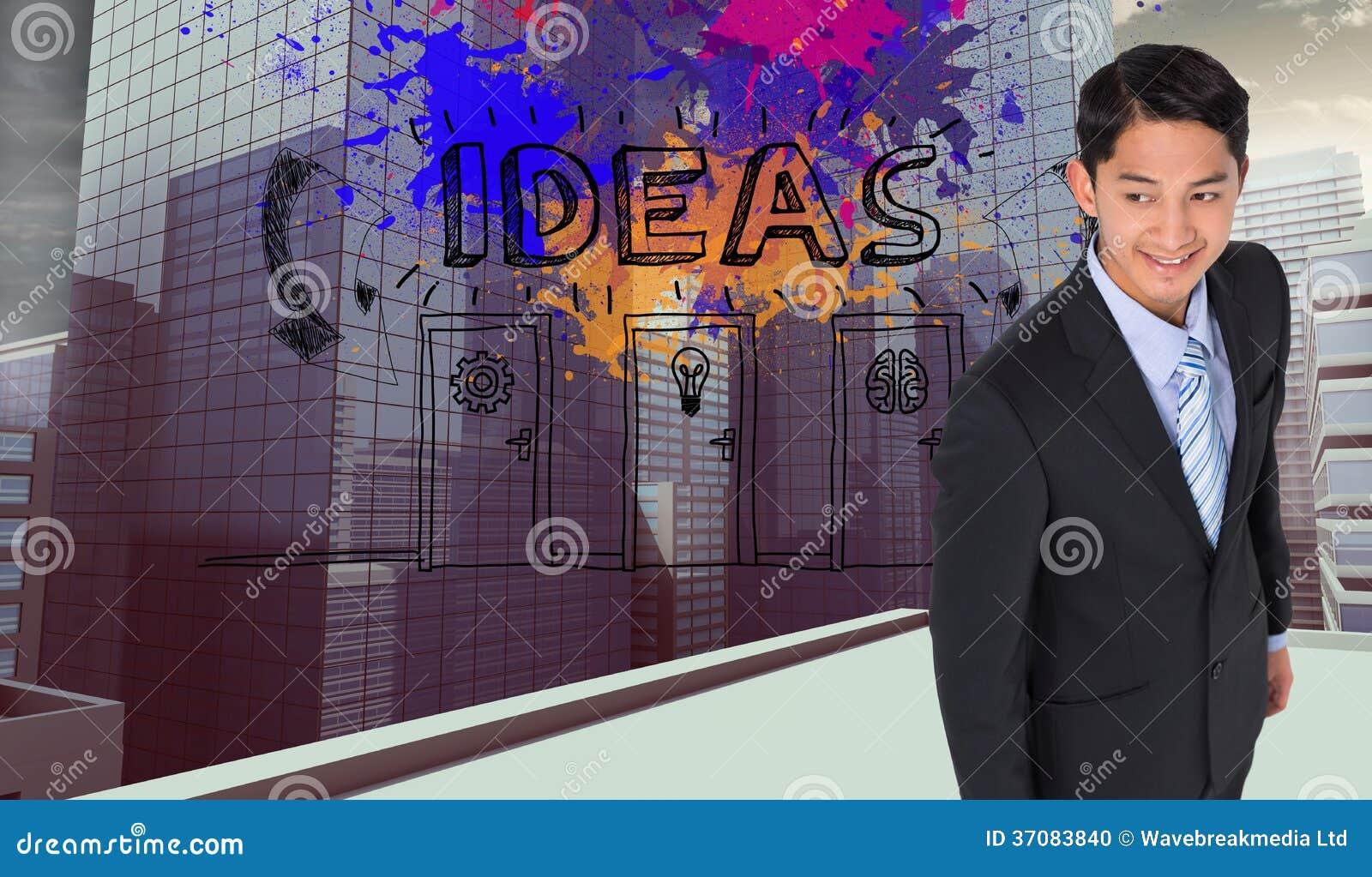 Download Uśmiechnięty Azjatykci Biznesmen Zdjęcie Stock - Obraz złożonej z splatter, żarówka: 37083840