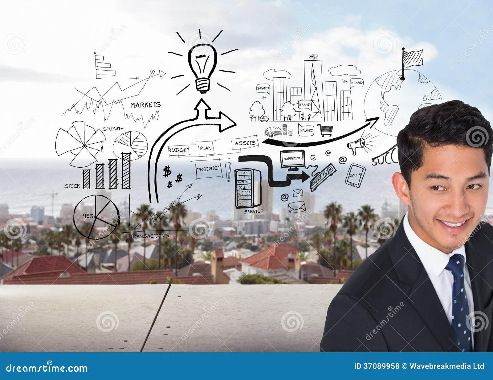 Download Uśmiechnięty Azjatykci Biznesmen Zdjęcie Stock - Obraz złożonej z chmury, brainstorm: 37089958
