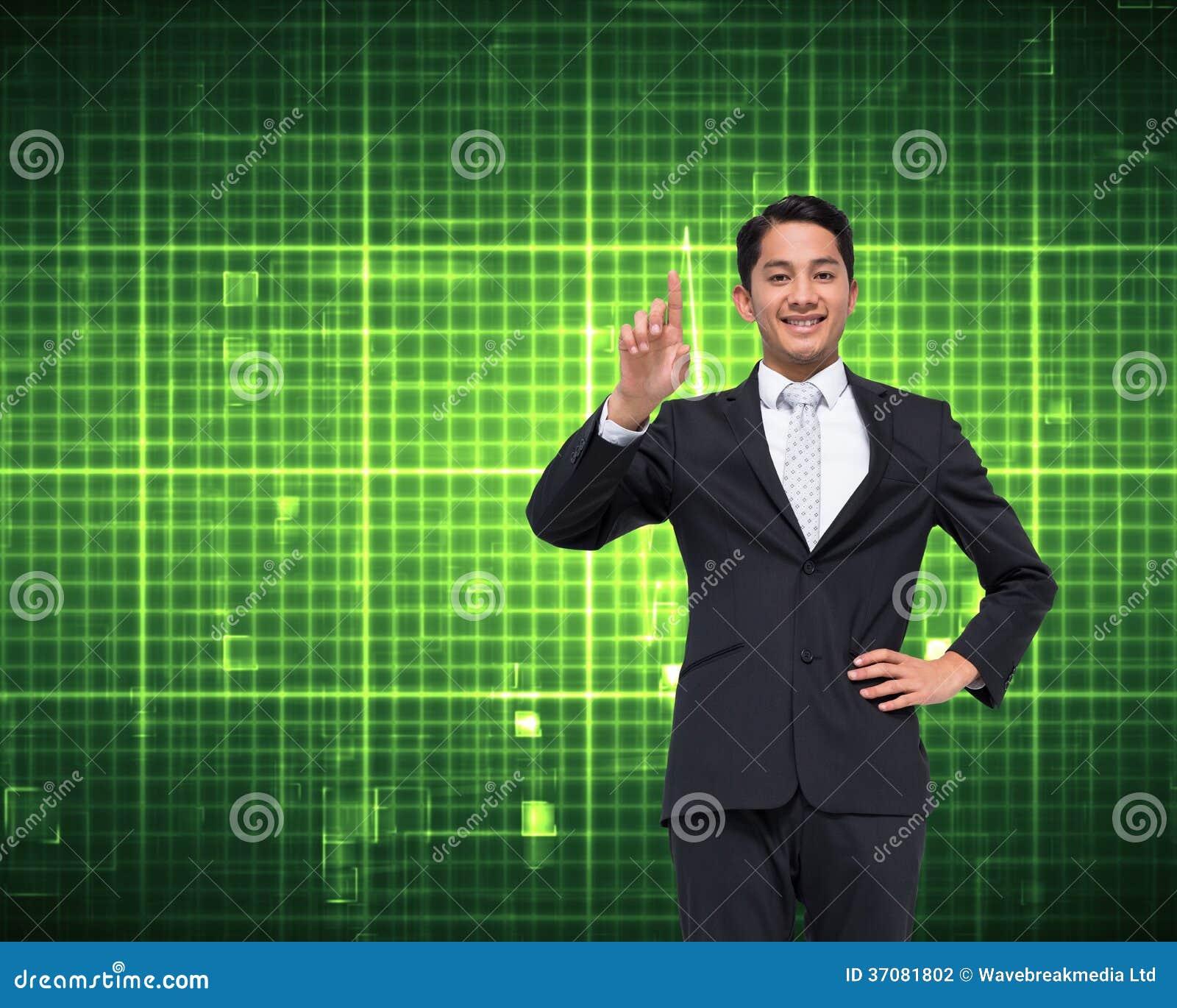 Download Uśmiechnięty Azjatykci Biznesmena Wskazywać Zdjęcie Stock - Obraz złożonej z brąz, well: 37081802