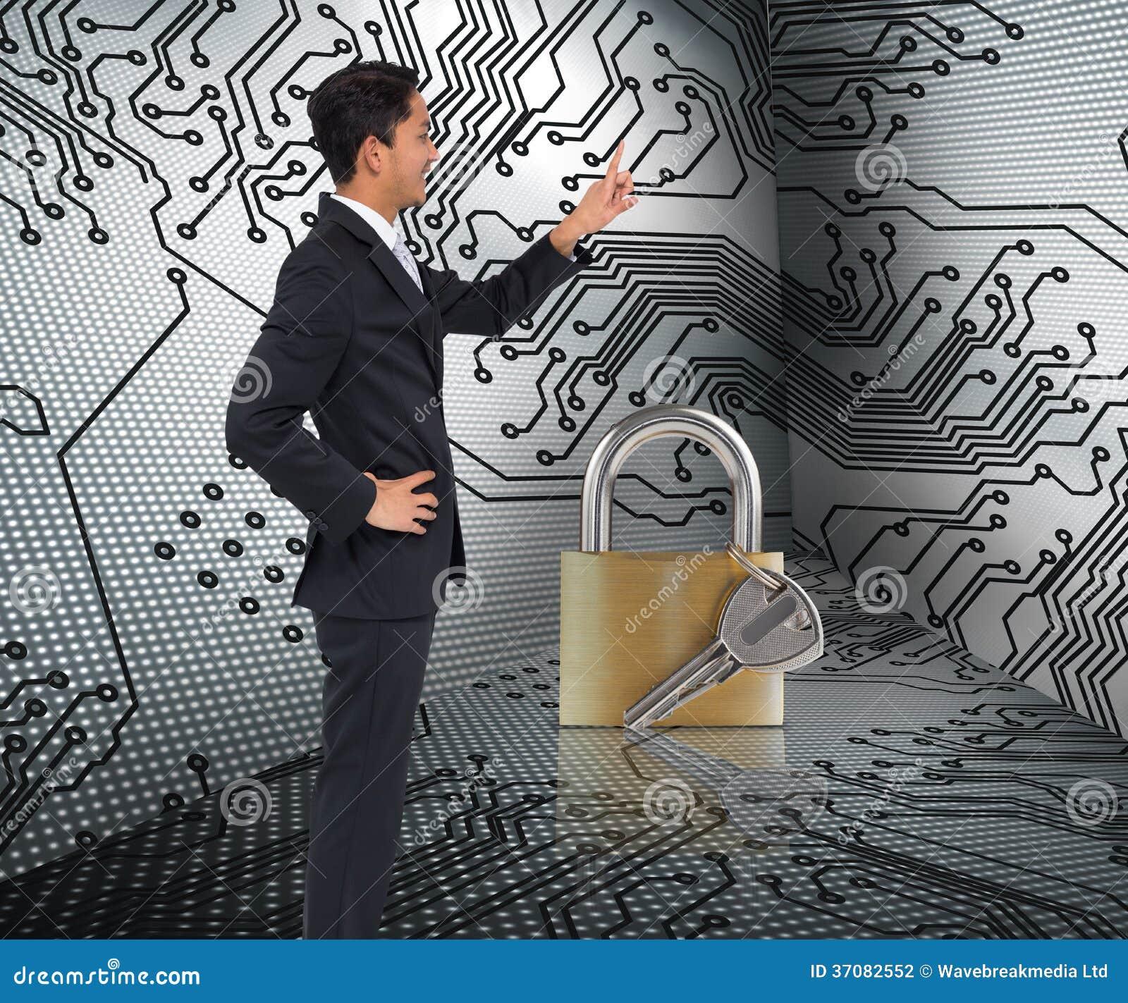 Download Uśmiechnięty Azjatykci Biznesmena Wskazywać Zdjęcie Stock - Obraz złożonej z bezpieczeństwo, metal: 37082552