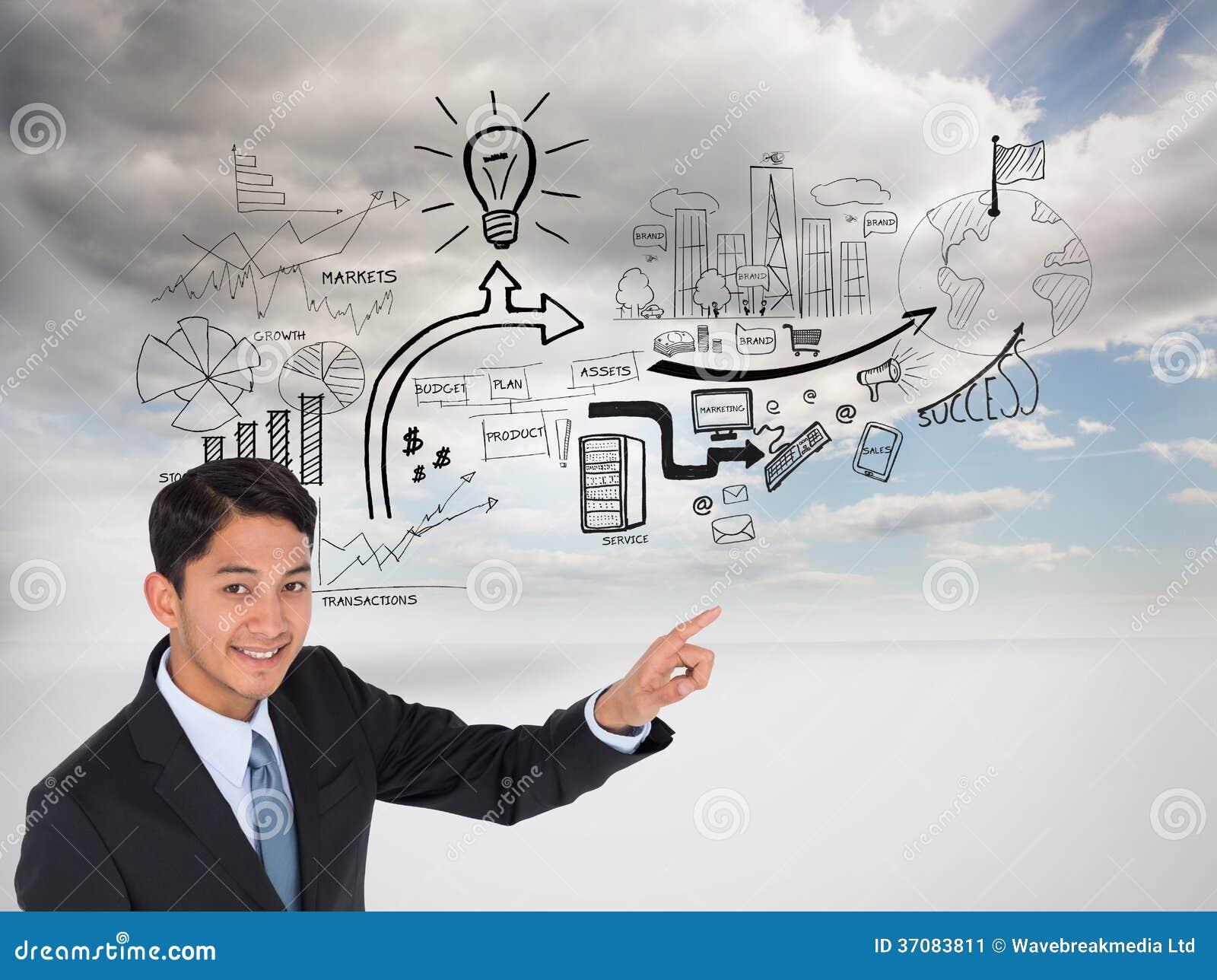 Download Uśmiechnięty Azjatykci Biznesmena Wskazywać Obraz Stock - Obraz złożonej z żarówka, sunlight: 37083811