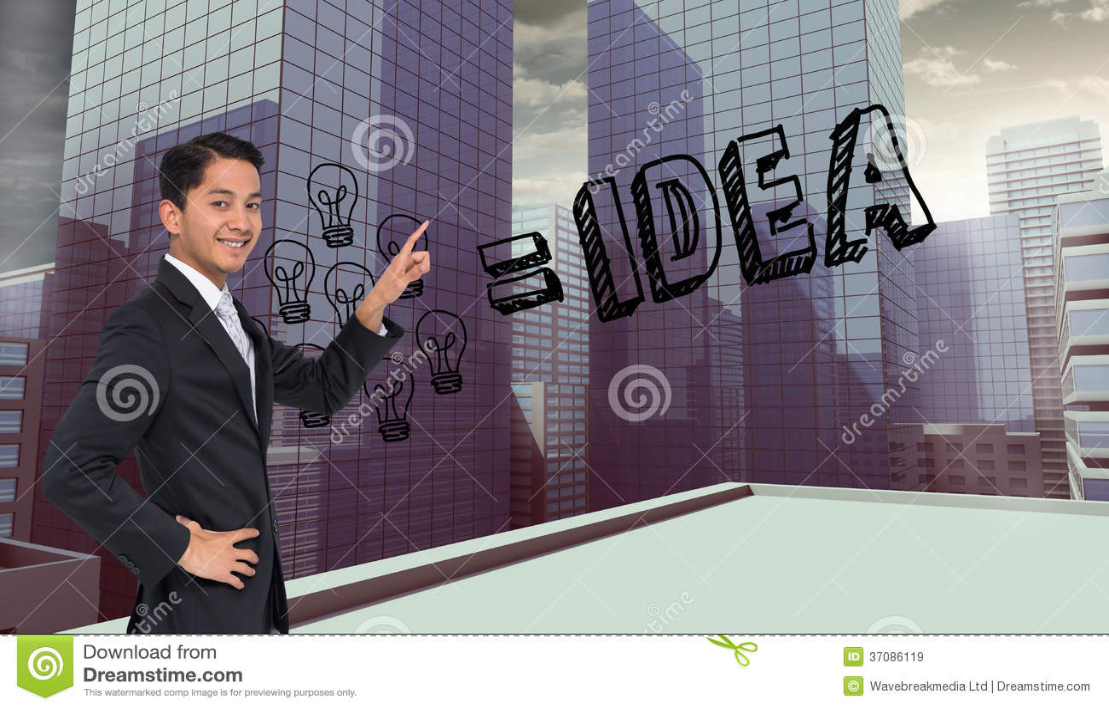 Download Uśmiechnięty Azjatykci Biznesmena Wskazywać Obraz Stock - Obraz złożonej z kostium, jeden: 37086119