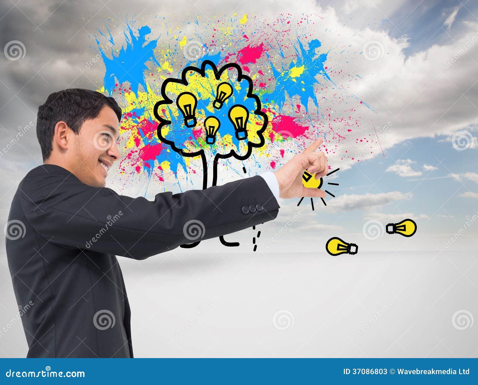 Download Uśmiechnięty Azjatykci Biznesmena Wskazywać Obraz Stock - Obraz złożonej z farba, splatter: 37086803