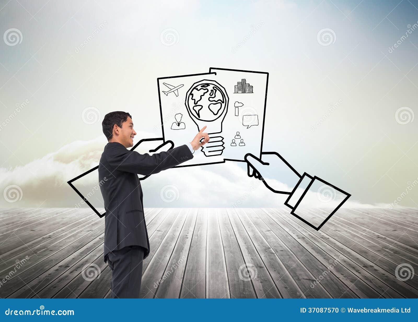 Download Uśmiechnięty Azjatykci Biznesmena Wskazywać Zdjęcie Stock - Obraz złożonej z pomysł, wytwarza: 37087570