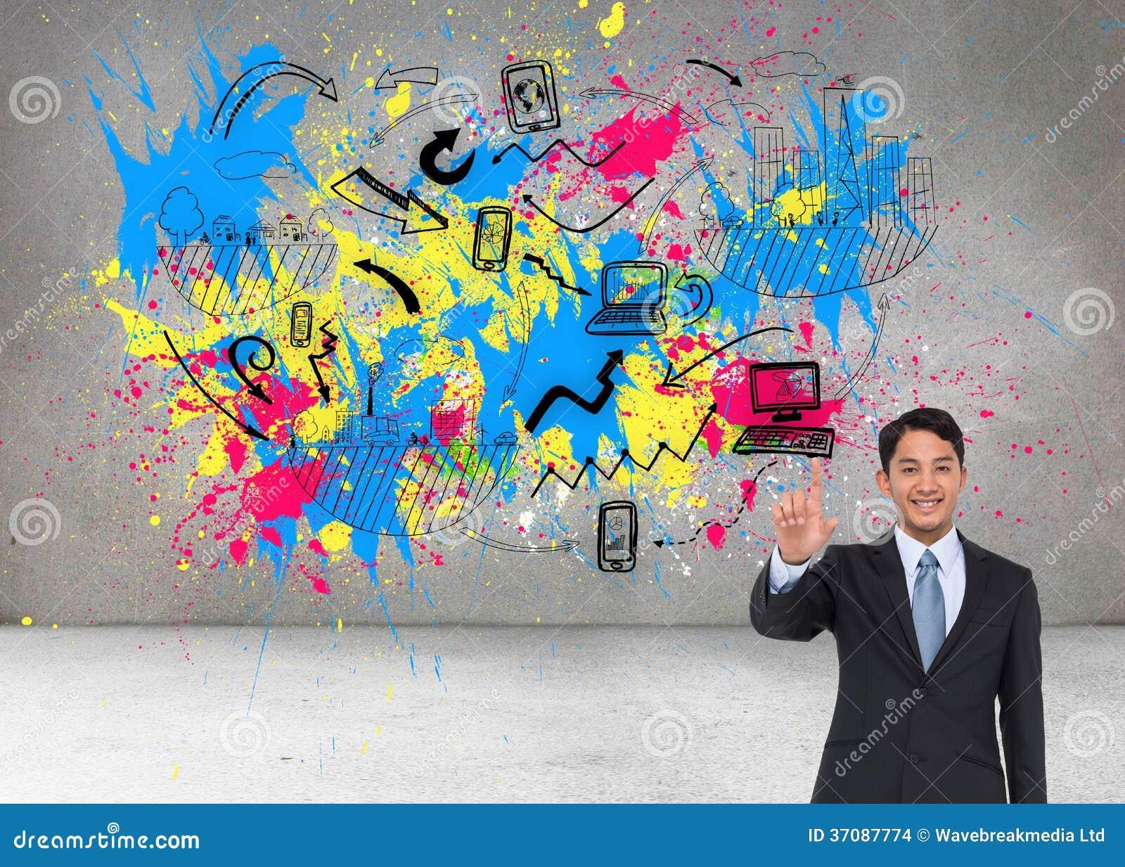 Download Uśmiechnięty Azjatykci Biznesmena Wskazywać Zdjęcie Stock - Obraz złożonej z pluśnięcie, digitise: 37087774