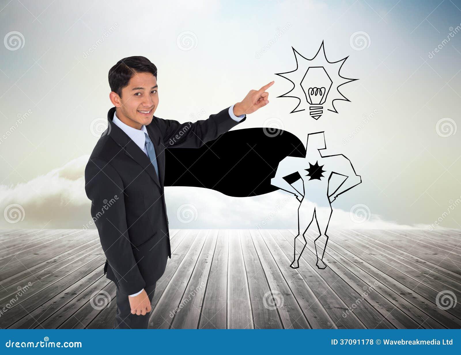 Download Uśmiechnięty Azjatykci Biznesmena Wskazywać Zdjęcie Stock - Obraz złożonej z innowacja, jaskrawy: 37091178