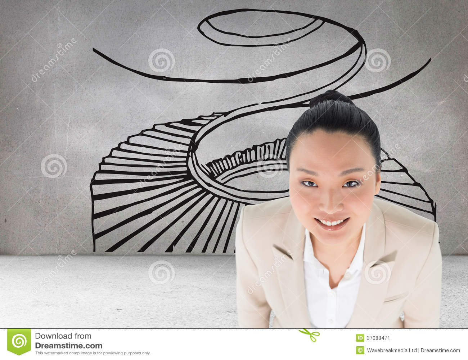 Download Uśmiechnięty Azjatykci Bizneswoman Obraz Stock - Obraz złożonej z brąz, composite: 37088471