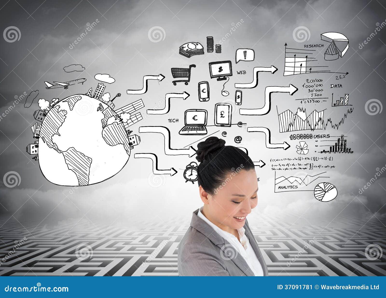 Download Uśmiechnięty Azjatykci Bizneswoman Obraz Stock - Obraz złożonej z digitise, azjata: 37091781