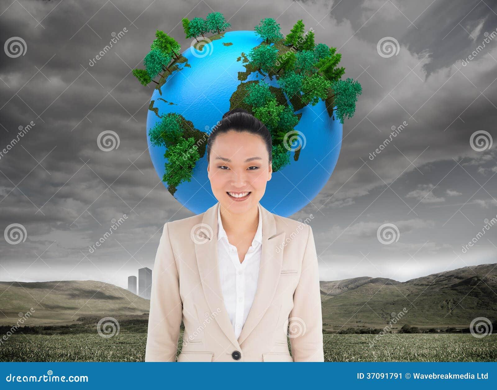 Download Uśmiechnięty Azjatykci Bizneswoman Obraz Stock - Obraz złożonej z błękitny, kostium: 37091791