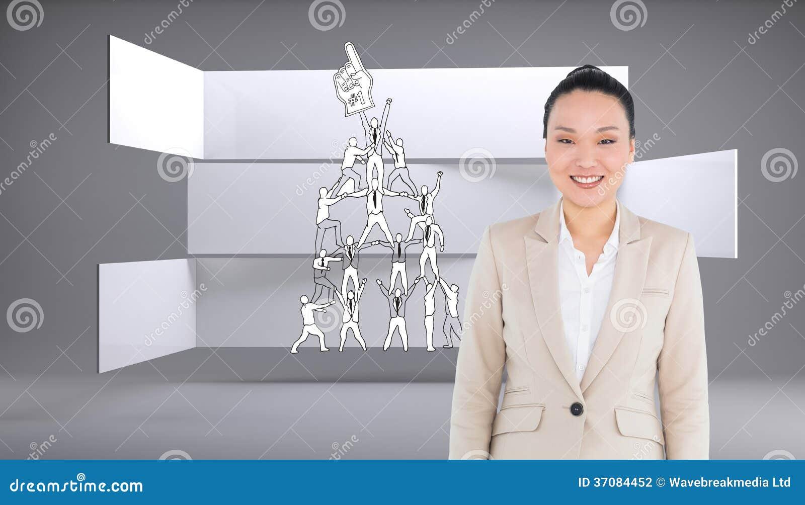 Download Uśmiechnięty Azjatykci Bizneswomanu Odprowadzenie Zdjęcie Stock - Obraz złożonej z współpracownicy, jeden: 37084452