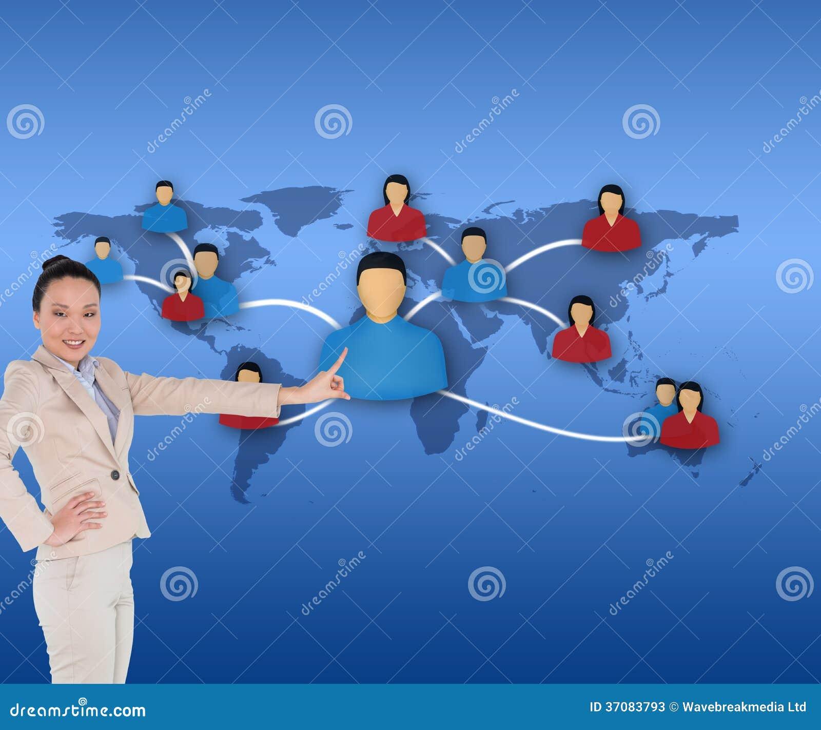Download Uśmiechnięty Azjatykci Bizneswomanu Wskazywać Obraz Stock - Obraz złożonej z ziemia, well: 37083793