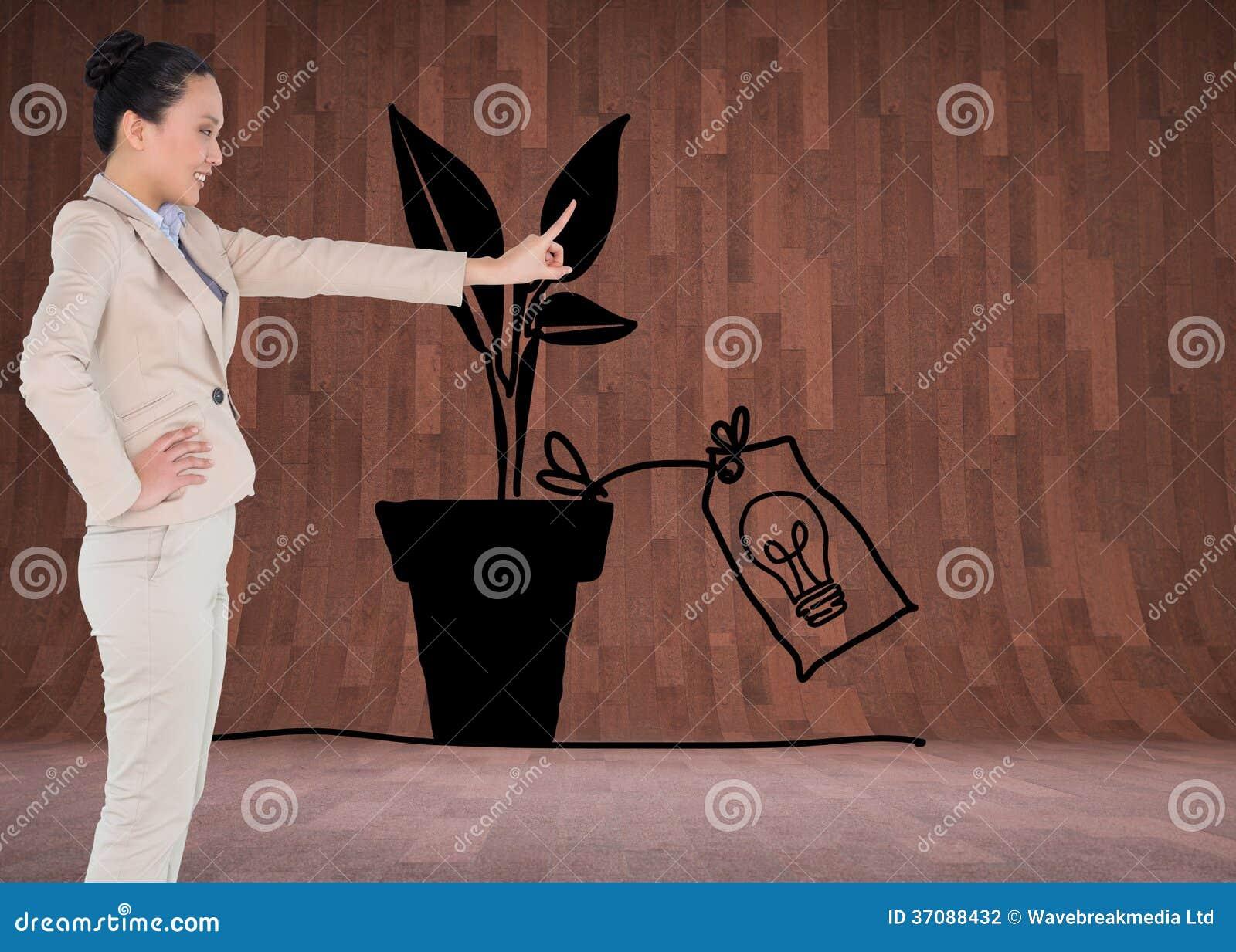 Download Uśmiechnięty Azjatykci Bizneswomanu Wskazywać Zdjęcie Stock - Obraz złożonej z well, drewno: 37088432