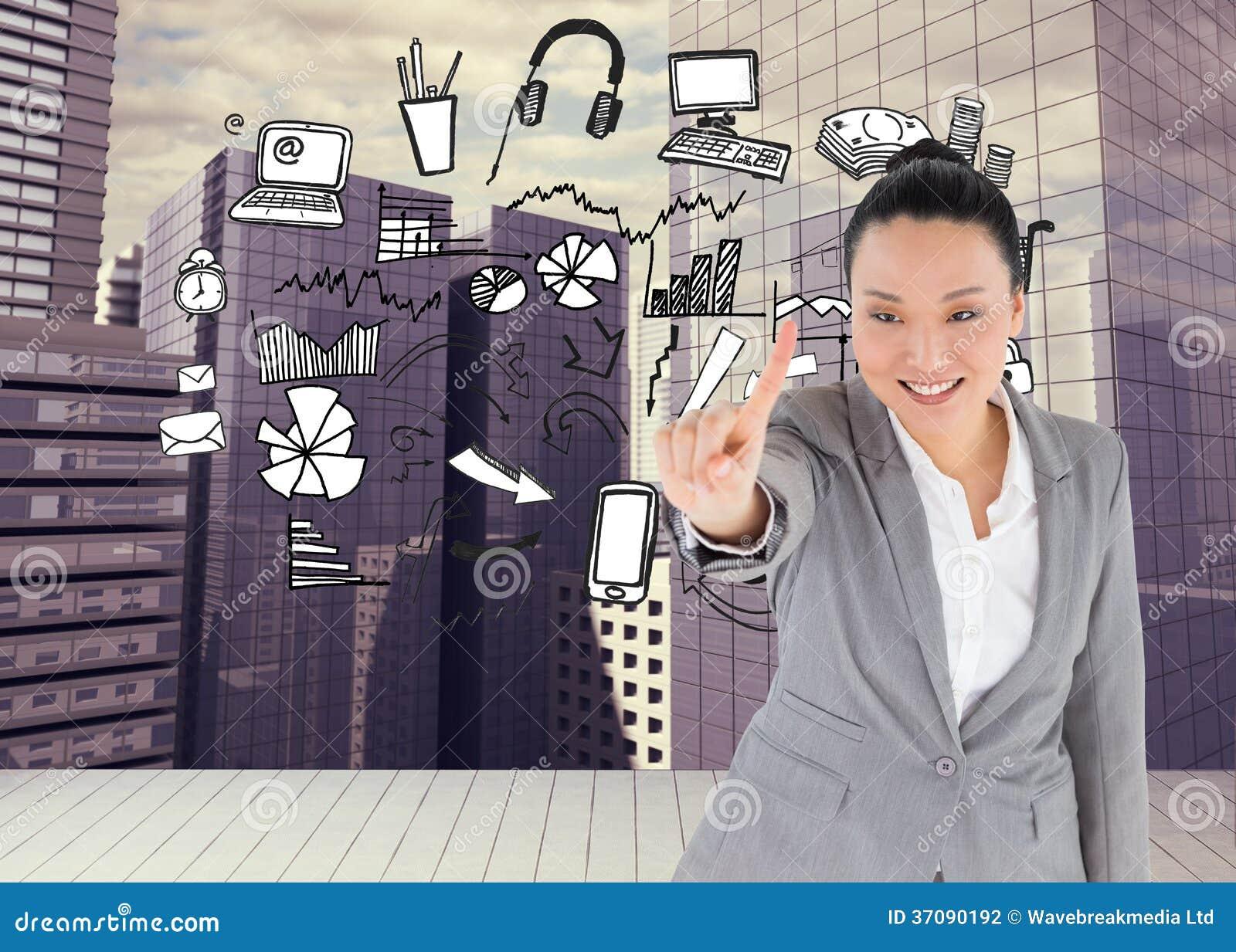 Download Uśmiechnięty Azjatykci Bizneswomanu Wskazywać Zdjęcie Stock - Obraz złożonej z arrowed, skyscraper: 37090192