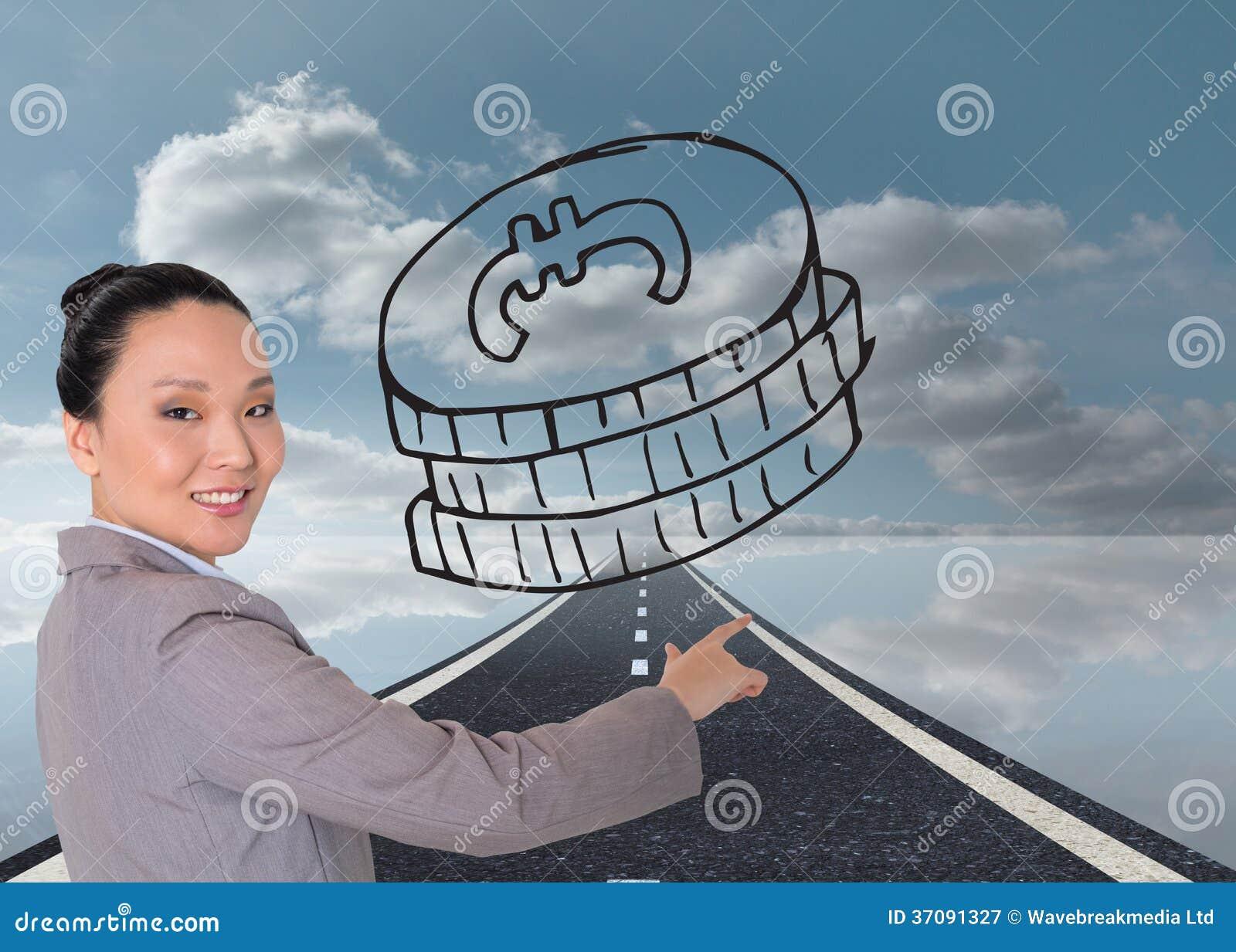 Download Uśmiechnięty Azjatykci Bizneswomanu Wskazywać Obraz Stock - Obraz złożonej z horyzont, kierunek: 37091327