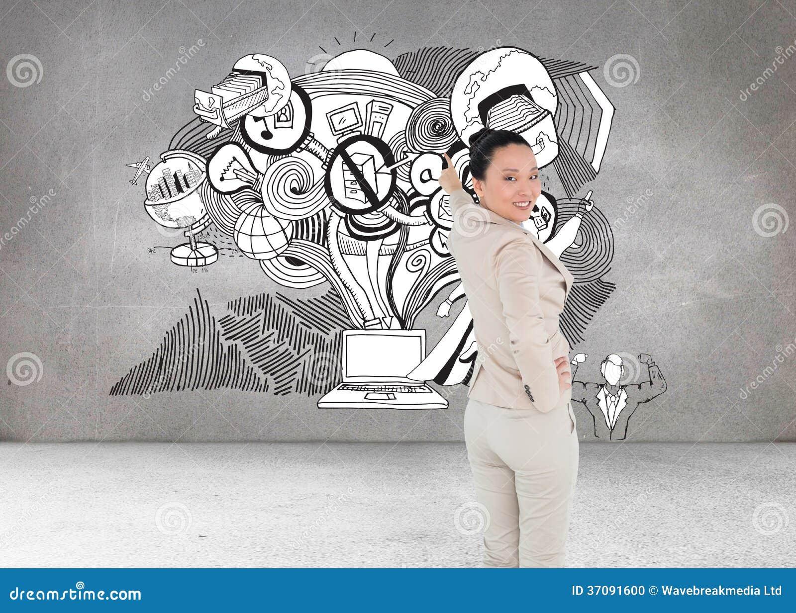 Download Uśmiechnięty Azjatykci Bizneswomanu Wskazywać Zdjęcie Stock - Obraz złożonej z chmura, jeden: 37091600