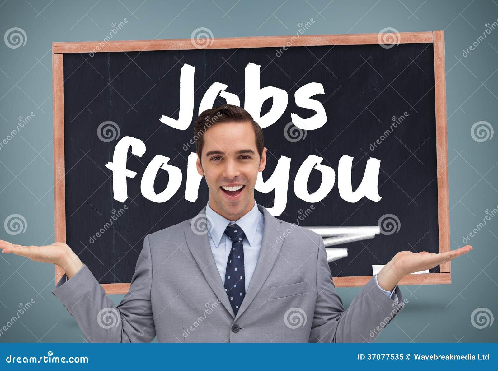 Download Uśmiechnięty Biznesmen Przedstawia Coś Z Jego Ręki Obraz Stock - Obraz złożonej z konceptualny, tekst: 37077535