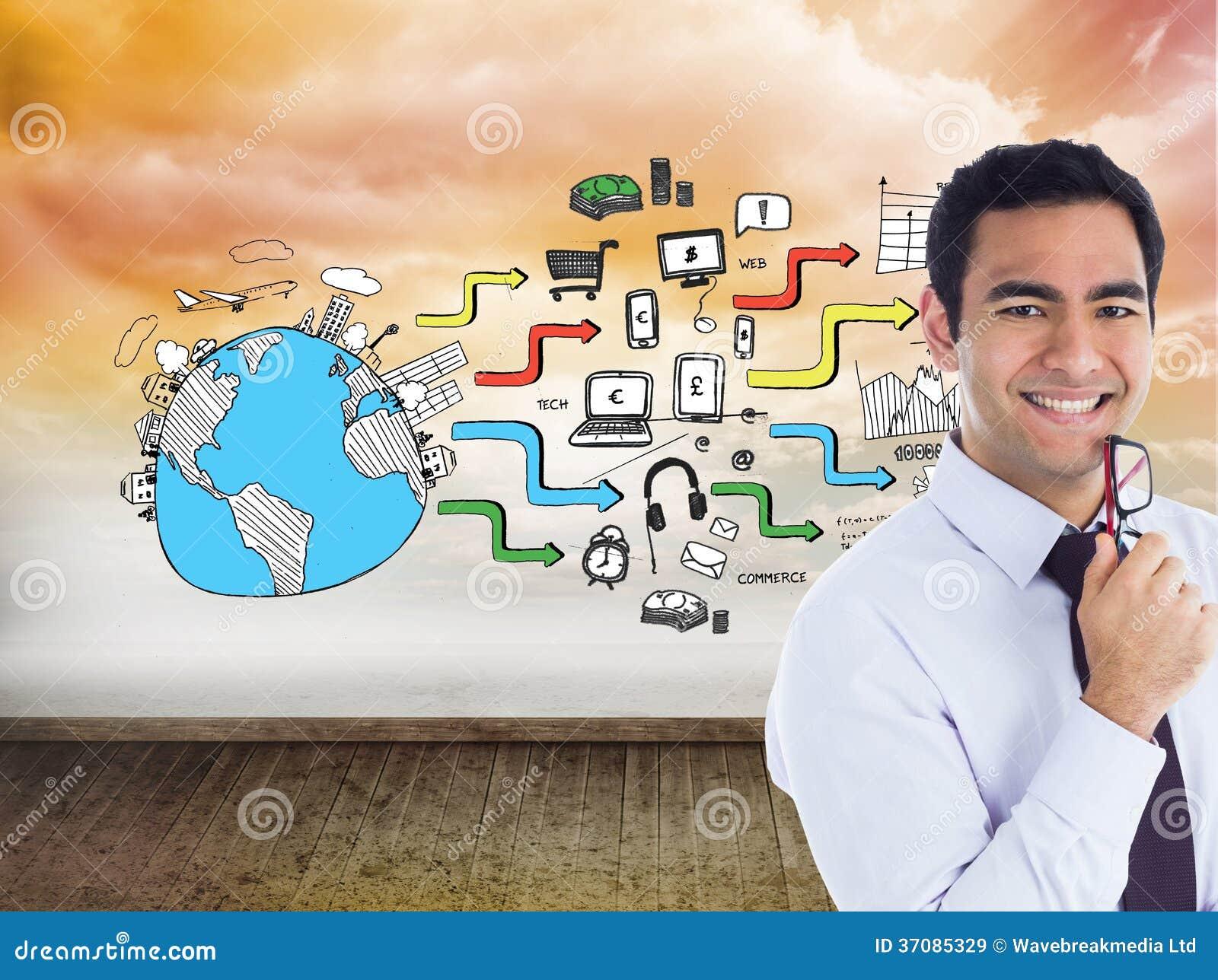 Download Uśmiechnięty Biznesmen Trzyma Szkła Obraz Stock - Obraz złożonej z mężczyzna, globalny: 37085329
