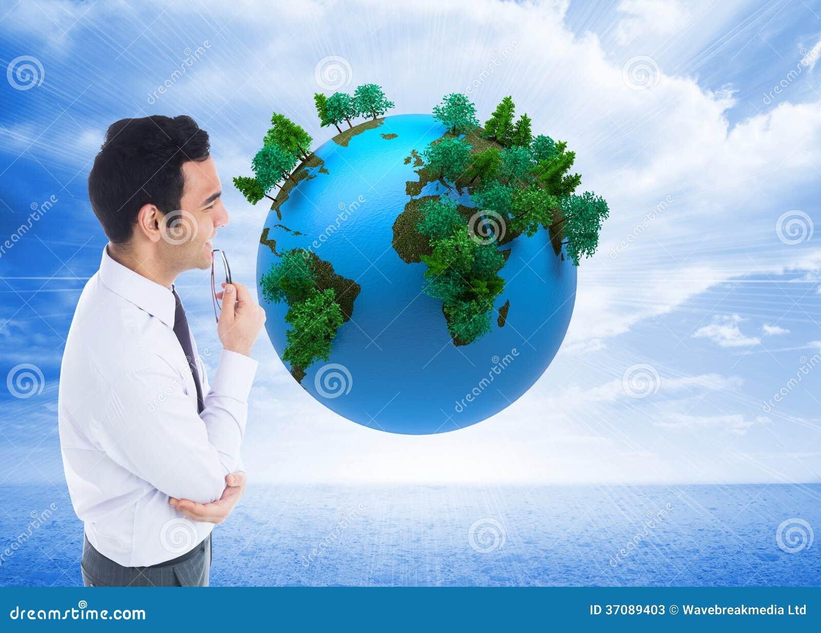 Download Uśmiechnięty Biznesmen Trzyma Szkła Obraz Stock - Obraz złożonej z chmurny, ubierający: 37089403