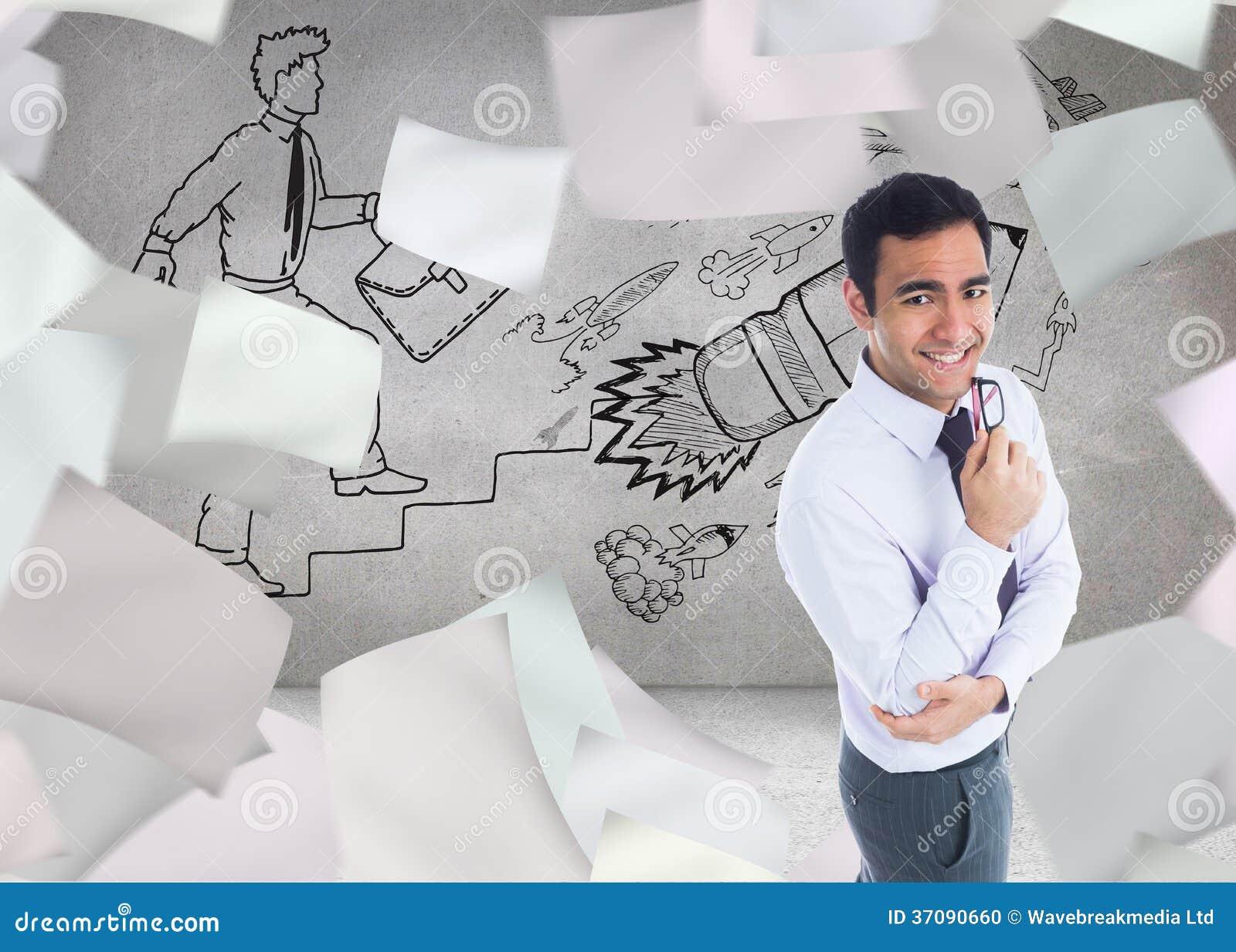 Download Uśmiechnięty Biznesmen Trzyma Szkła Zdjęcie Stock - Obraz złożonej z skrót, grafika: 37090660