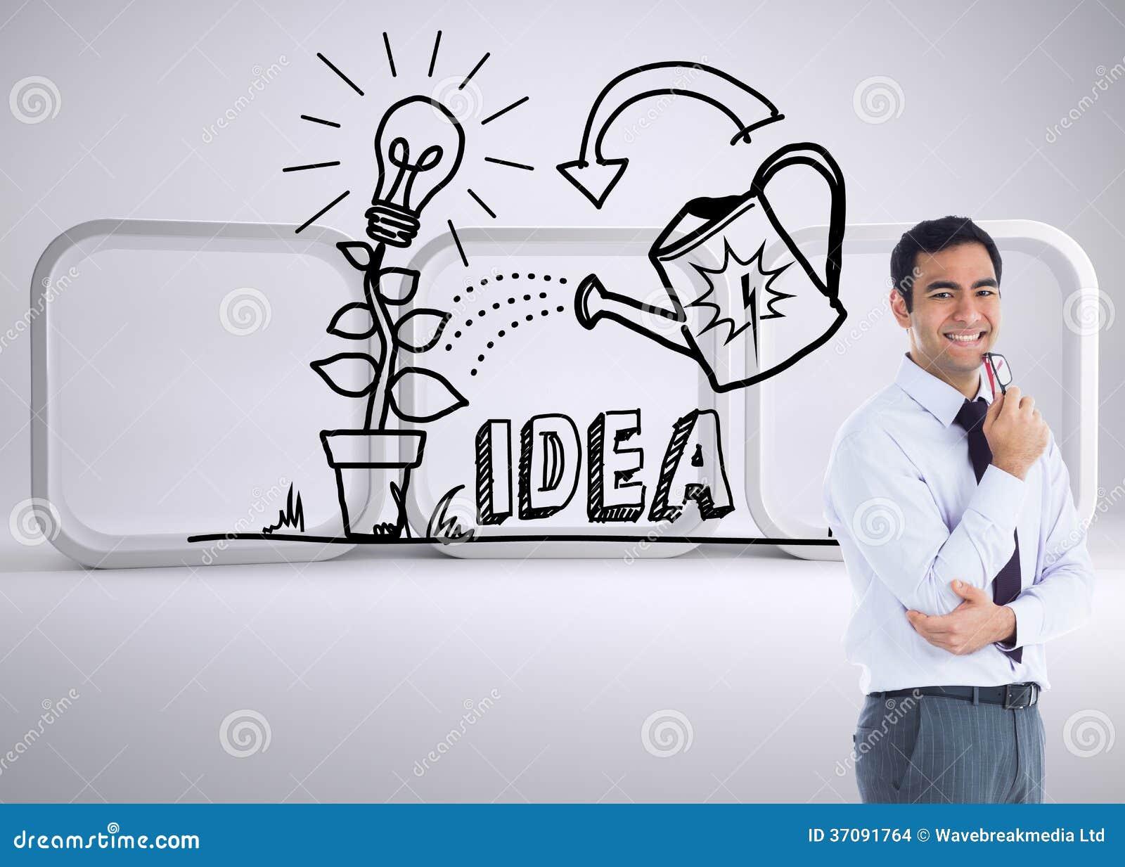 Download Uśmiechnięty Biznesmen Trzyma Szkła Zdjęcie Stock - Obraz złożonej z digitise, ubierający: 37091764