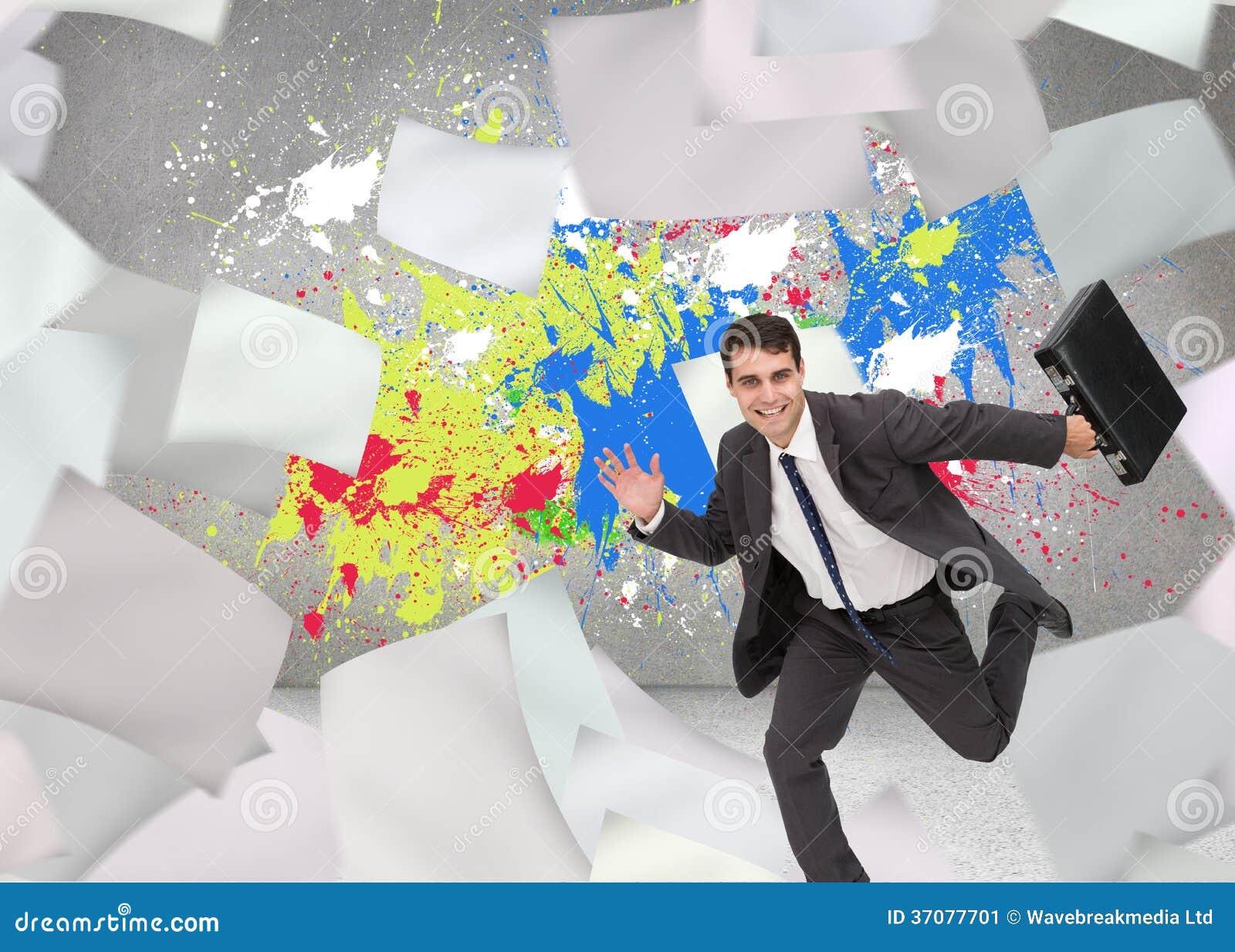 Download Uśmiechnięty Biznesmen W Hury Obraz Stock - Obraz złożonej z farba, pluśnięcie: 37077701
