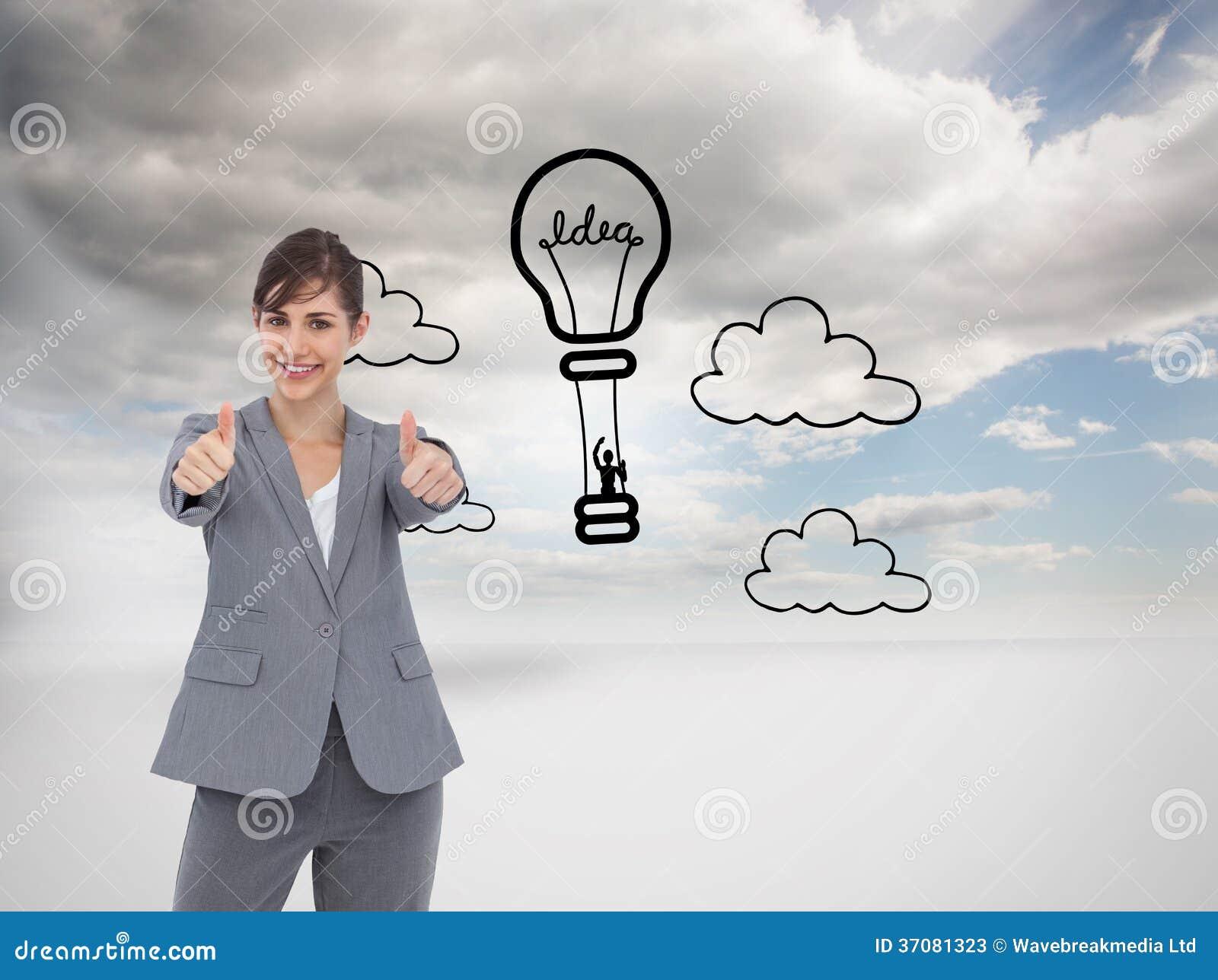 Download Uśmiechnięty Bizneswoman Daje Aprobatom Obraz Stock - Obraz złożonej z digitalis, digitise: 37081323