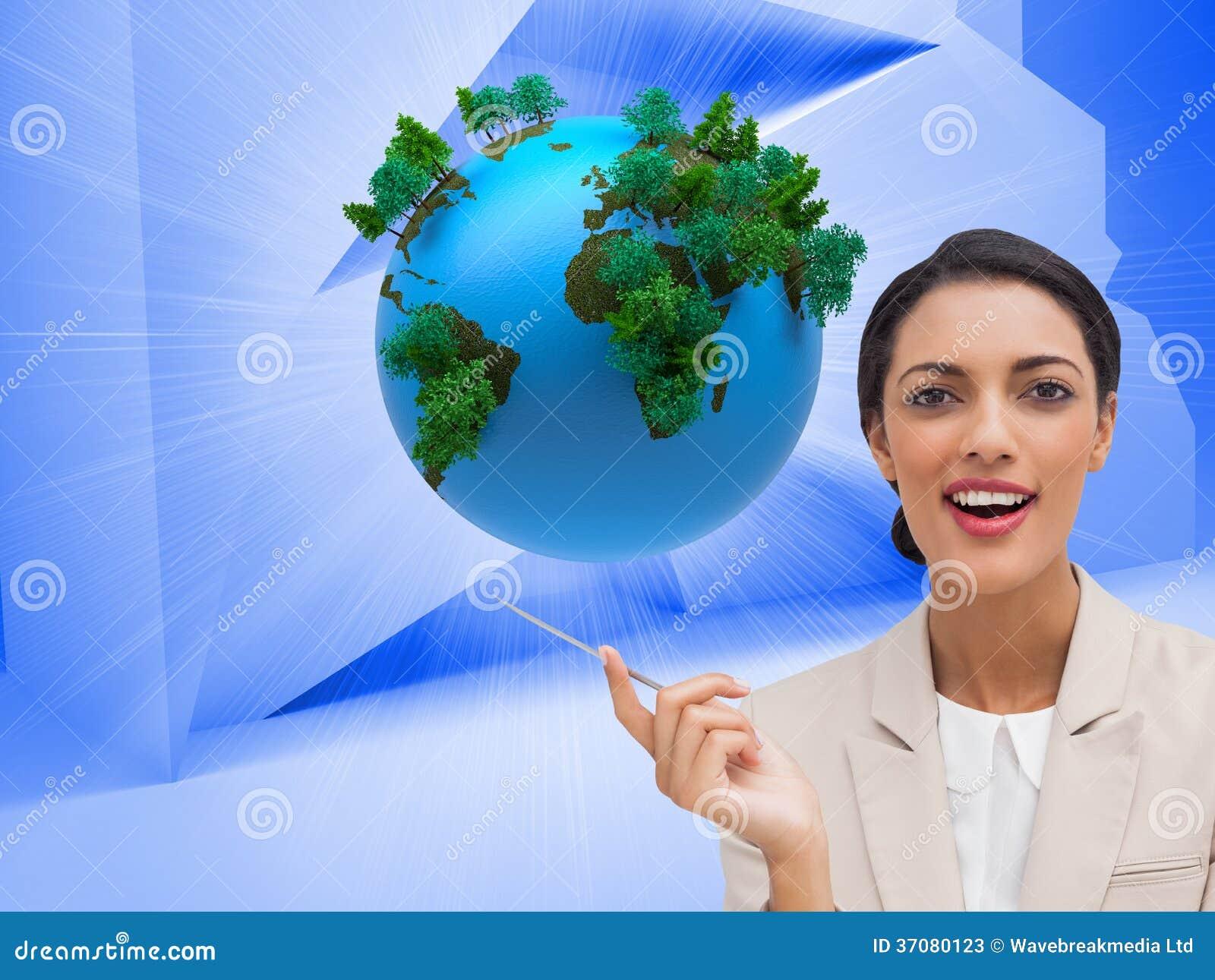 Download Uśmiechnięty Bizneswoman Trzyma Pióro Obraz Stock - Obraz złożonej z kobiety, planeta: 37080123