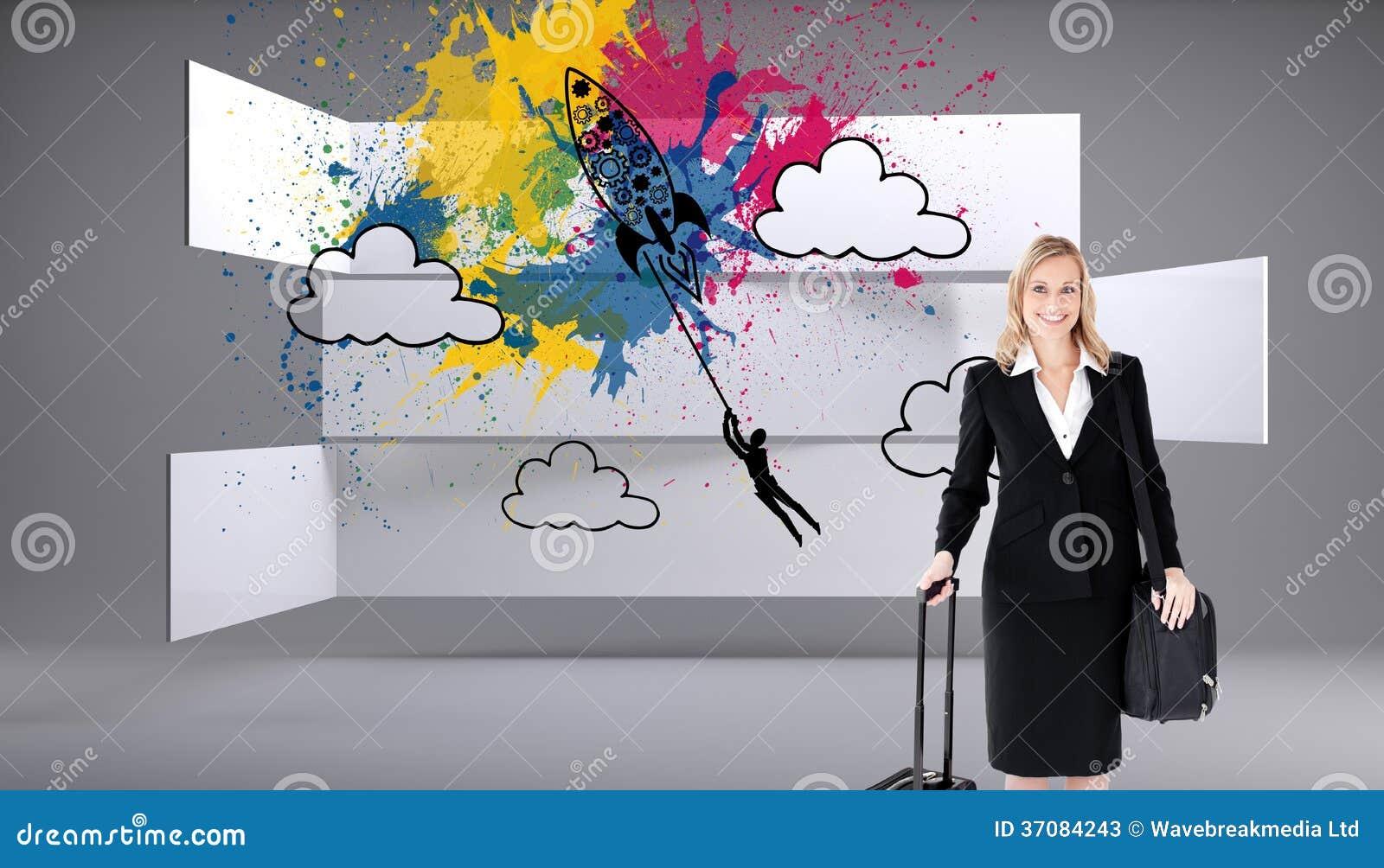 Download Uśmiechnięty Bizneswoman Trzyma Walizkę Obraz Stock - Obraz złożonej z digitalis, wytwarza: 37084243
