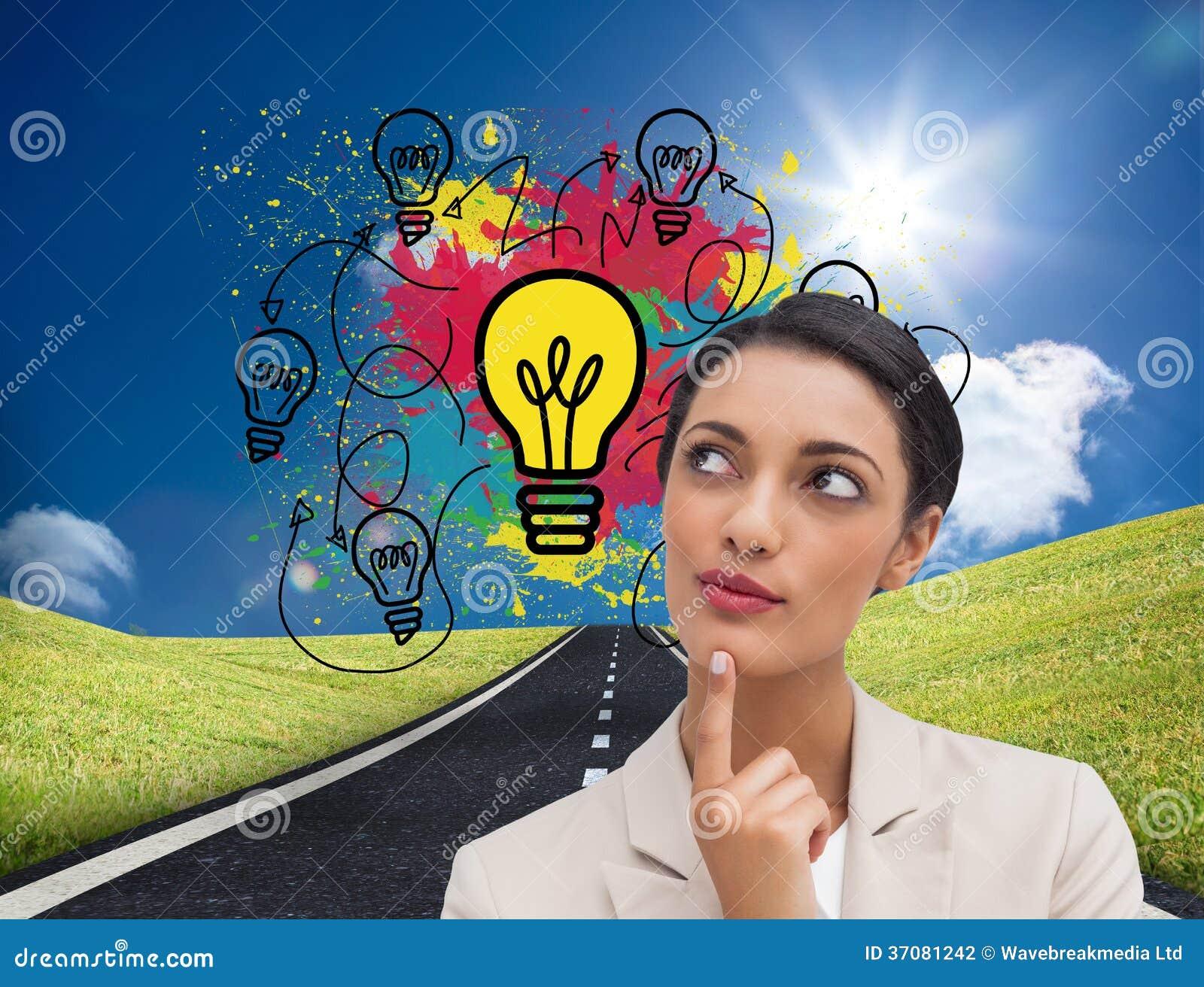 Download Uśmiechnięty Bizneswomanu Główkowanie Zdjęcie Stock - Obraz złożonej z przyszłość, pogodny: 37081242
