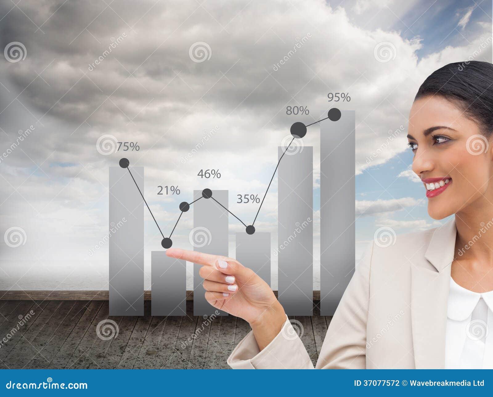 Download Uśmiechnięty Bizneswomanu Wskazywać Ilustracji - Ilustracja złożonej z chmurny, mapa: 37077572