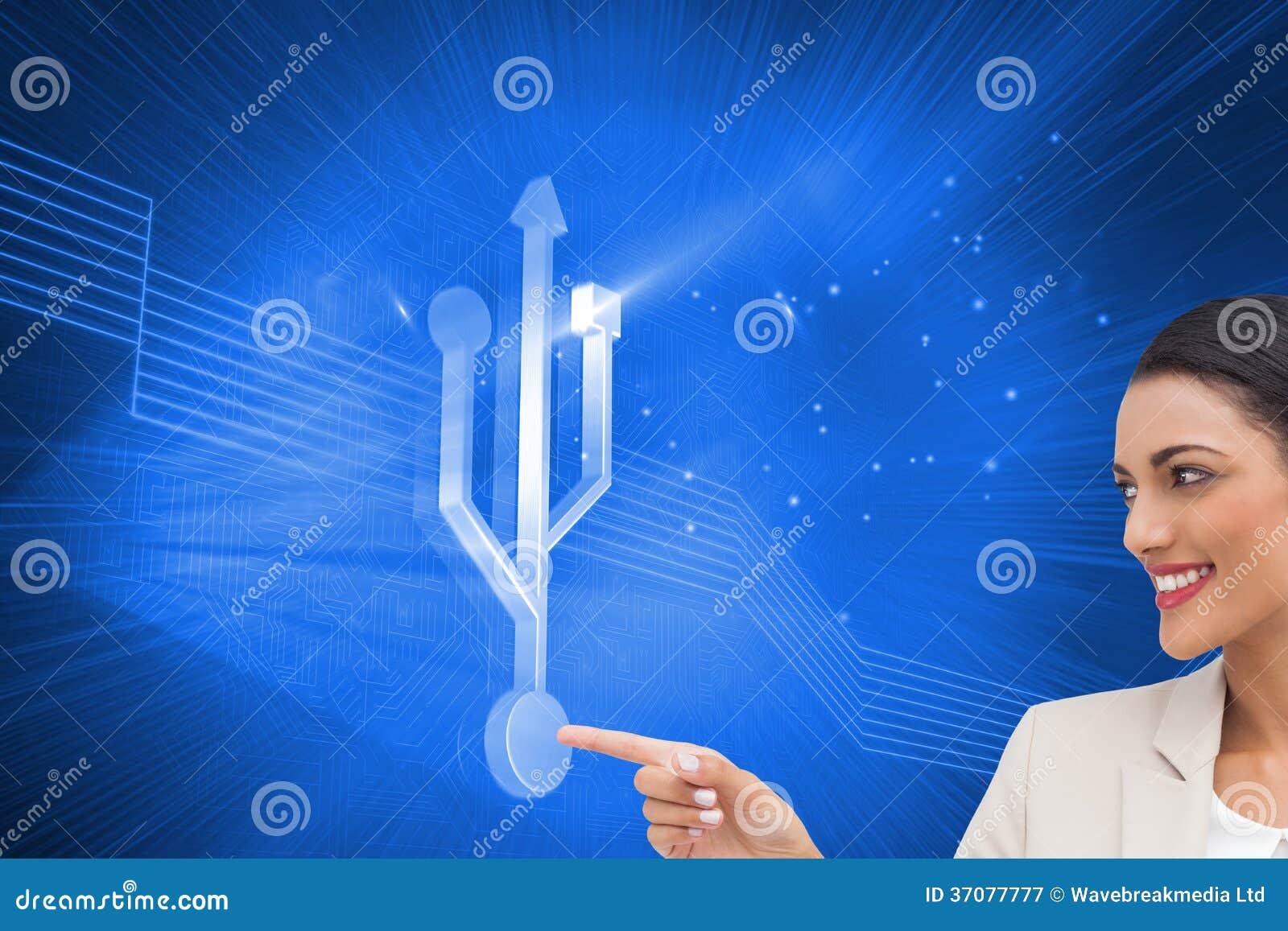 Download Uśmiechnięty Bizneswomanu Wskazywać Ilustracji - Ilustracja złożonej z grafika, łączy: 37077777