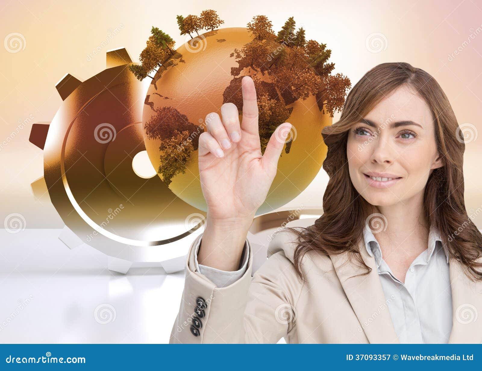 Download Uśmiechnięty Bizneswomanu Wskazywać Obraz Stock - Obraz złożonej z planeta, digitise: 37093357