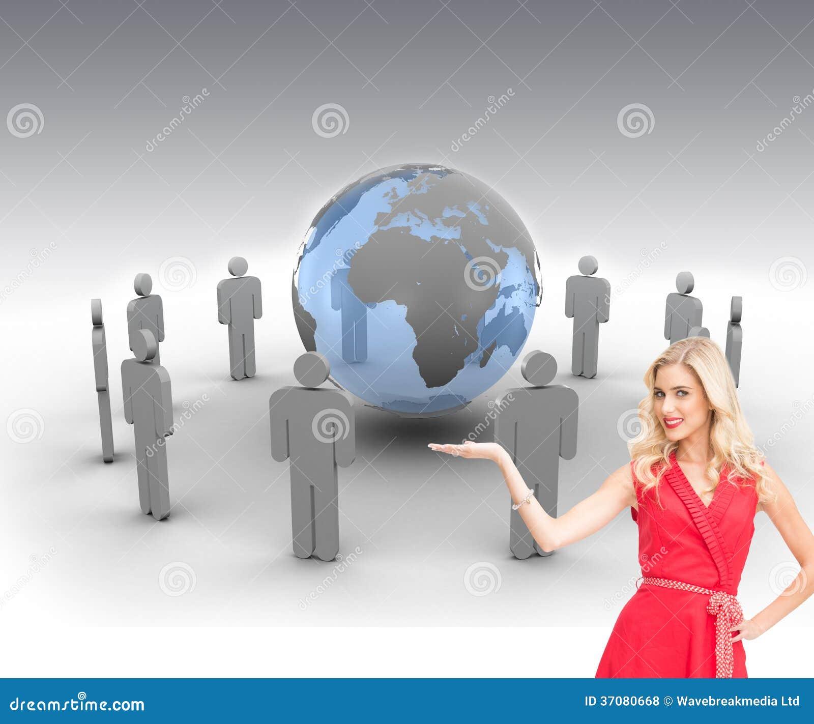Download Uśmiechnięty Blondynki Przedstawiać Ilustracji - Ilustracja złożonej z globe, wytwarza: 37080668