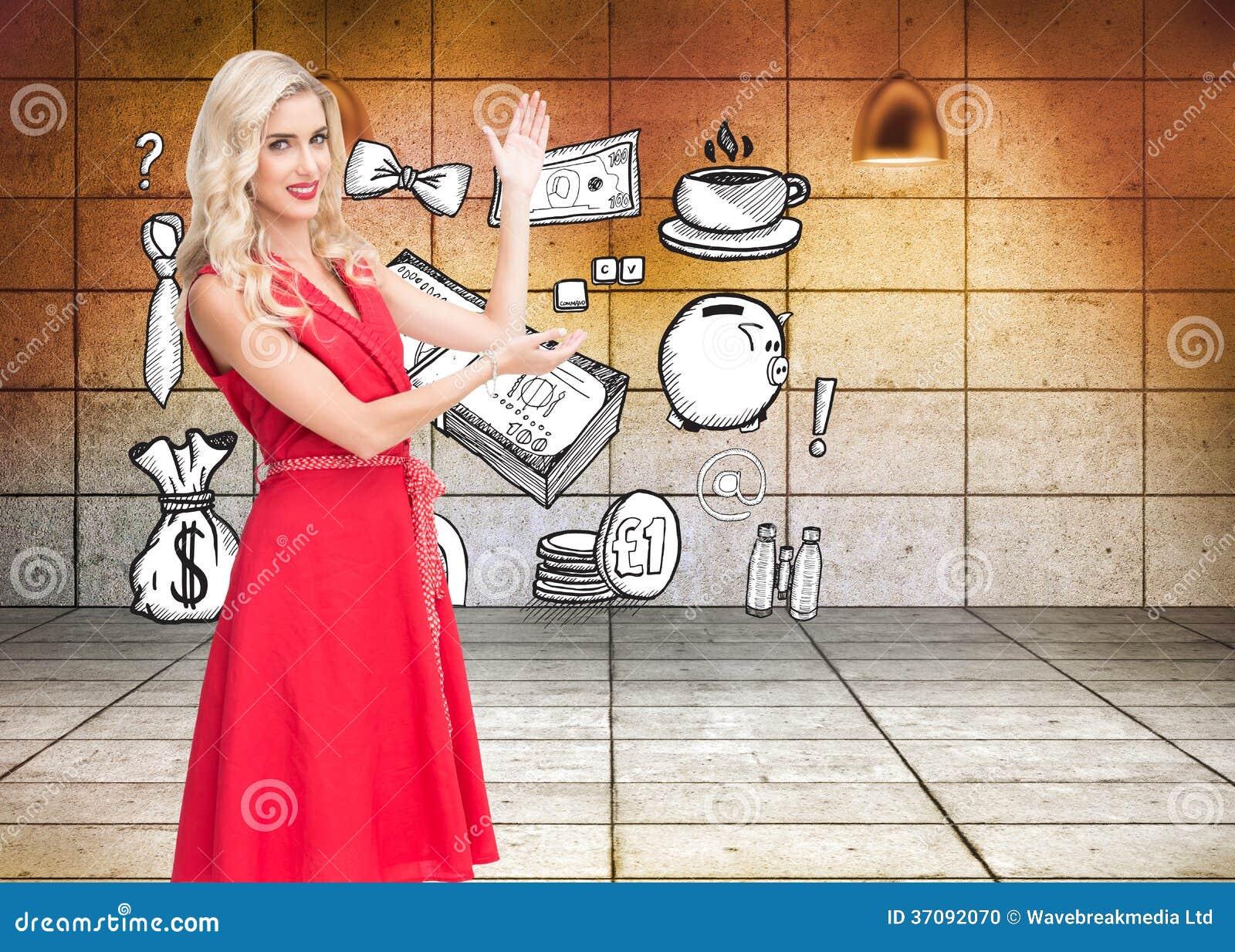 Download Uśmiechnięty Blondynki Przedstawiać Zdjęcie Stock - Obraz złożonej z bankowość, osoba: 37092070