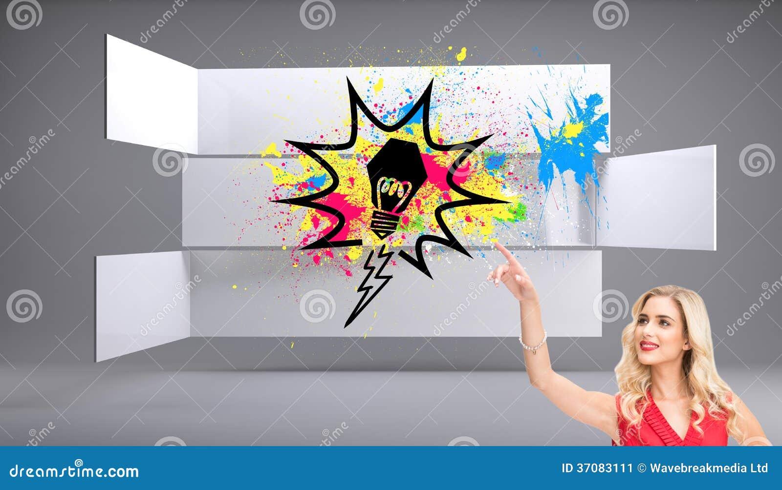 Download Uśmiechnięty Blondynki Wskazywać Ilustracji - Ilustracja złożonej z dosyć, gładki: 37083111