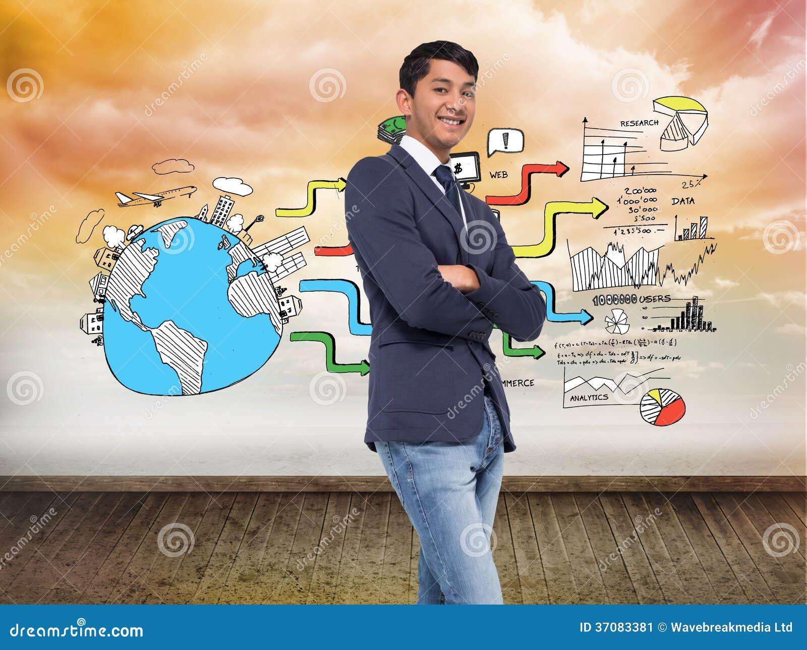 Download Uśmiechnięty Przypadkowy Biznesmen Z Rękami Krzyżować Obraz Stock - Obraz złożonej z komputer, globalny: 37083381