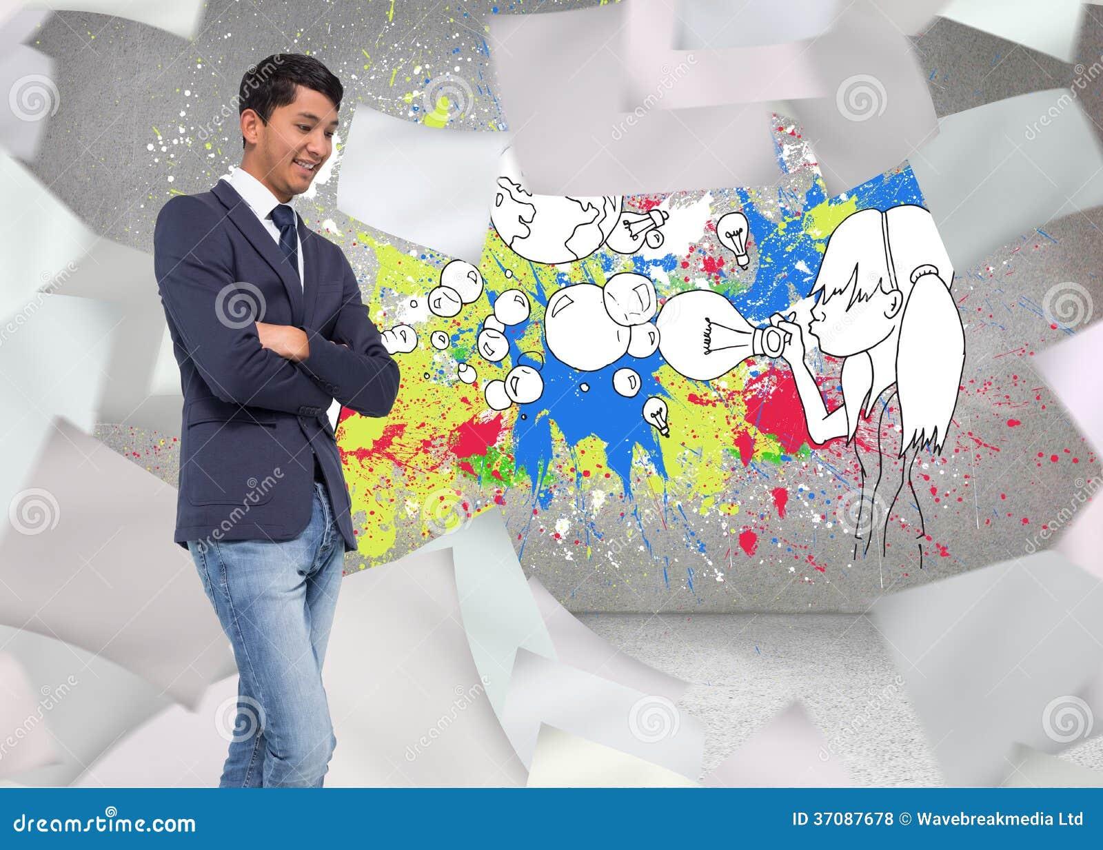 Download Uśmiechnięty Przypadkowy Biznesmen Z Rękami Krzyżować Zdjęcie Stock - Obraz złożonej z wytwarza, biodro: 37087678
