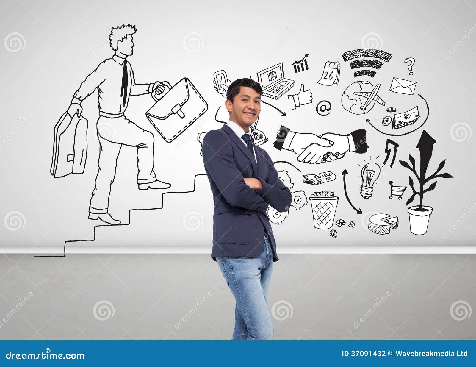 Download Uśmiechnięty Przypadkowy Biznesmen Z Rękami Krzyżować Zdjęcie Stock - Obraz złożonej z prosty, handshake: 37091432