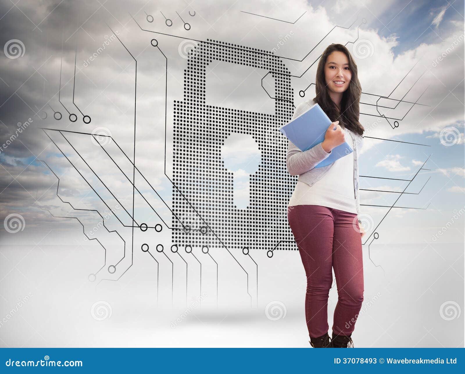Download Uśmiechnięty Uczeń W Komputerowym Pokoju Ilustracji - Ilustracja złożonej z kłódka, ochrona: 37078493