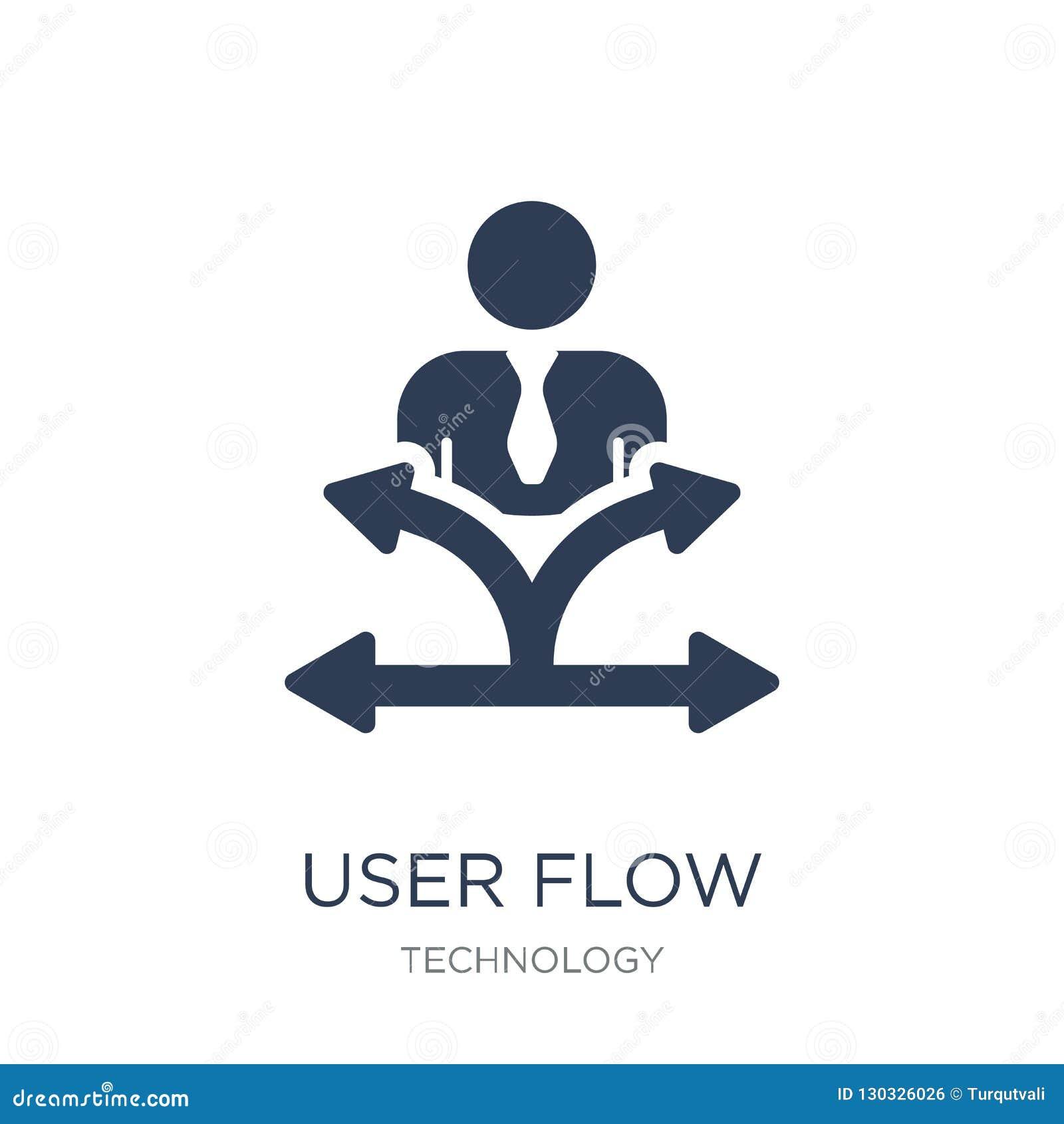 Użytkownik spływowa ikona Modna płaska wektorowa użytkownika przepływu ikona na białym backg